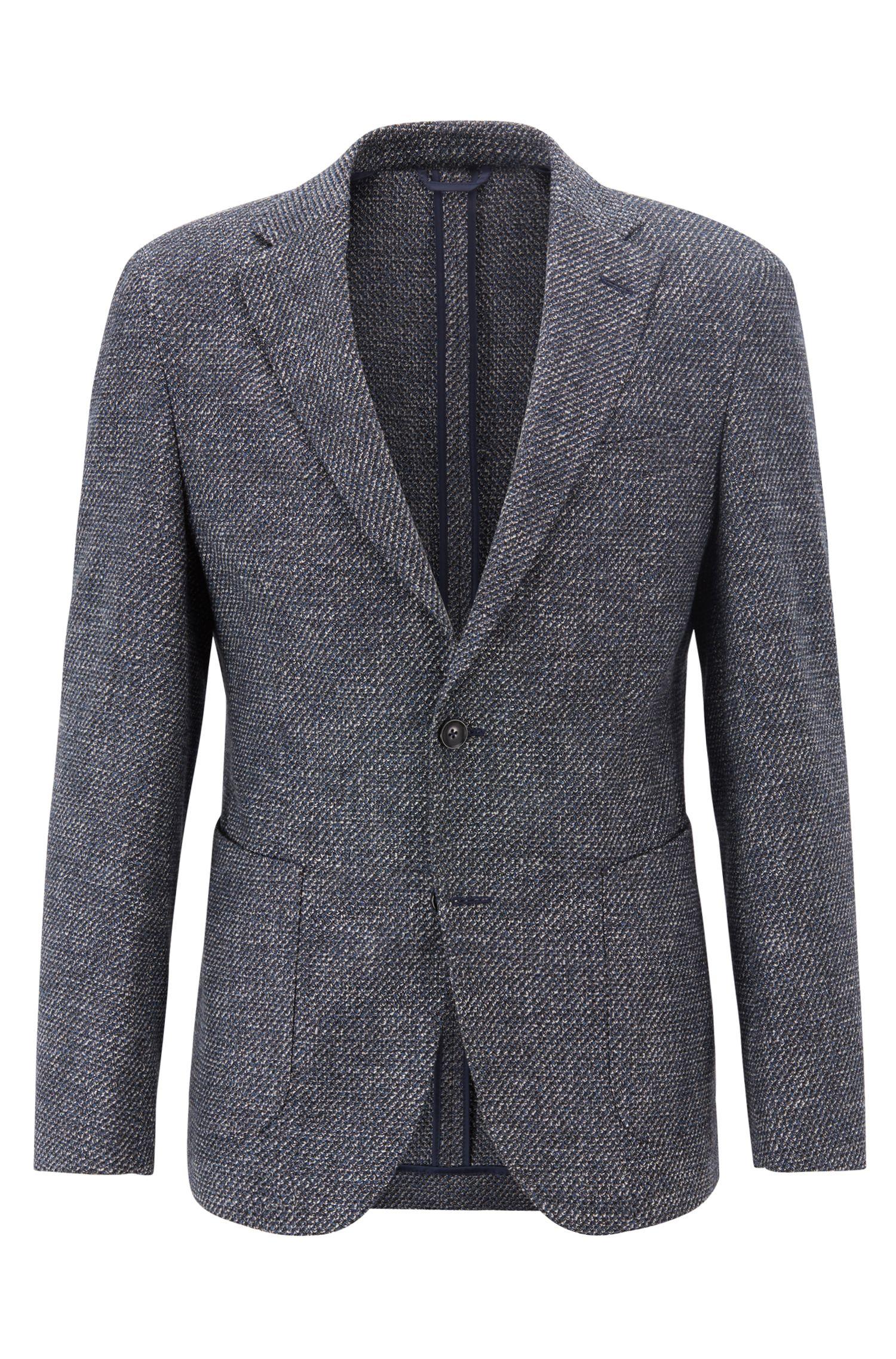 Tailored slim-fit blazer with semi-canvas construction, Dark Blue