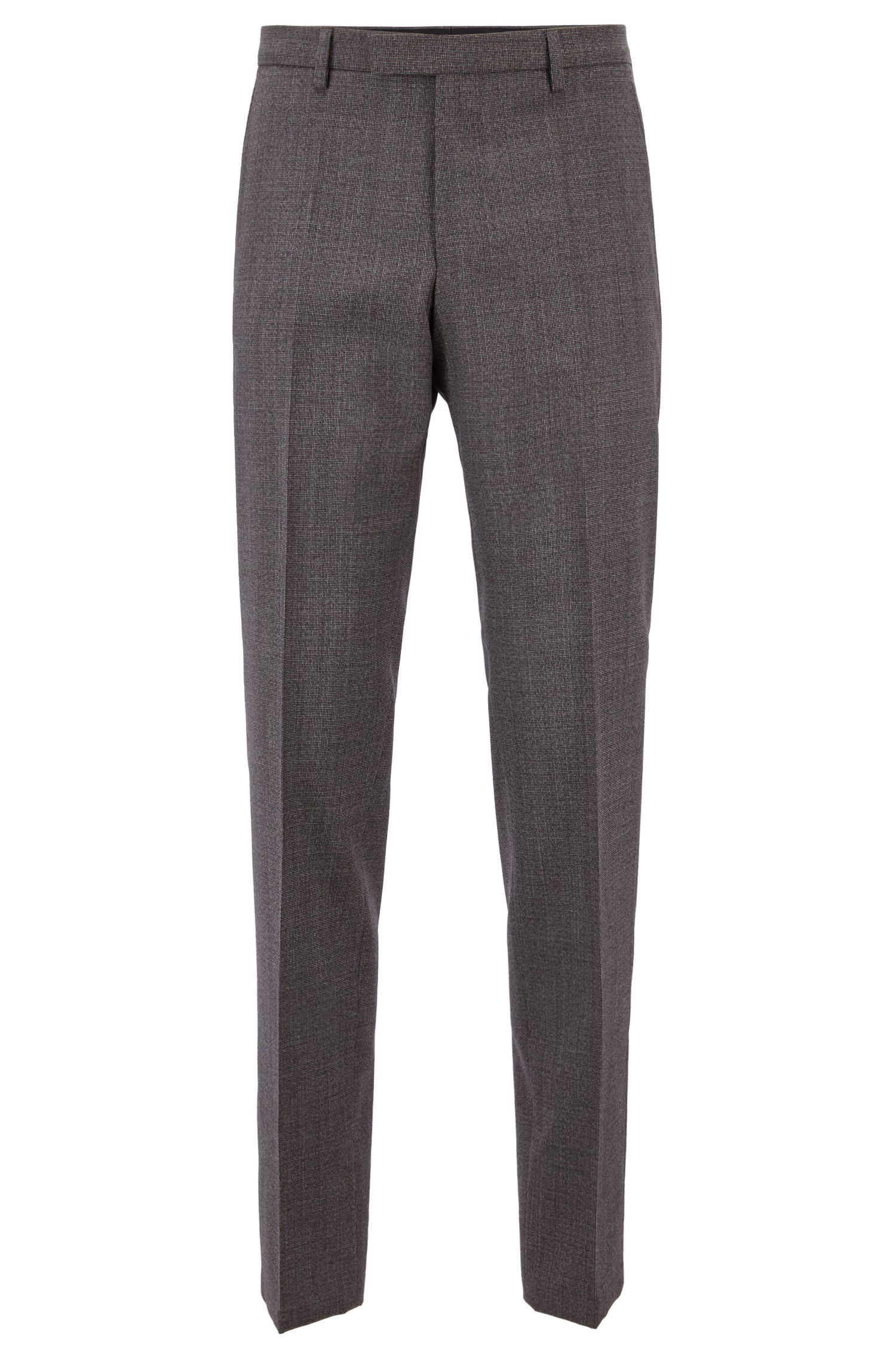 Regular-fit pants in patterned virgin wool, Dark Purple