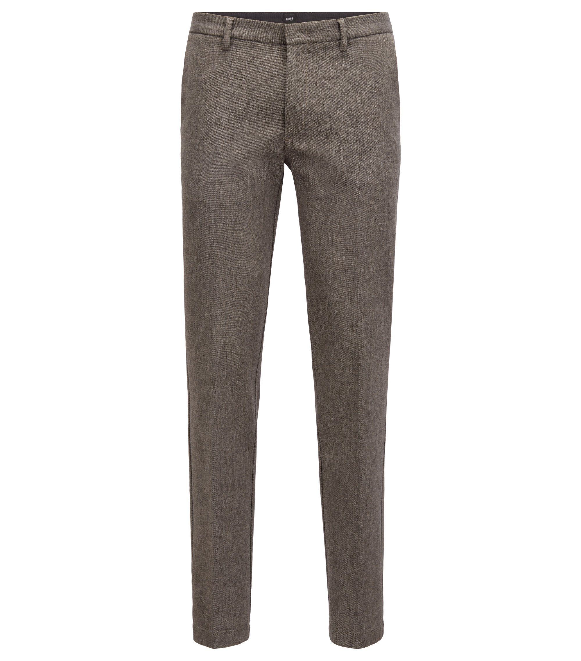 Slim-fit chinos in stretch mouliné cotton twill, Open Green
