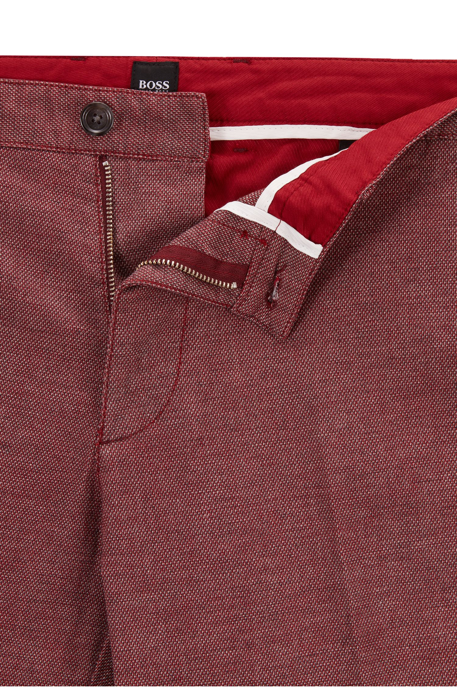 Regular-fit chinos in micro-patterned stretch cotton, Dark Red