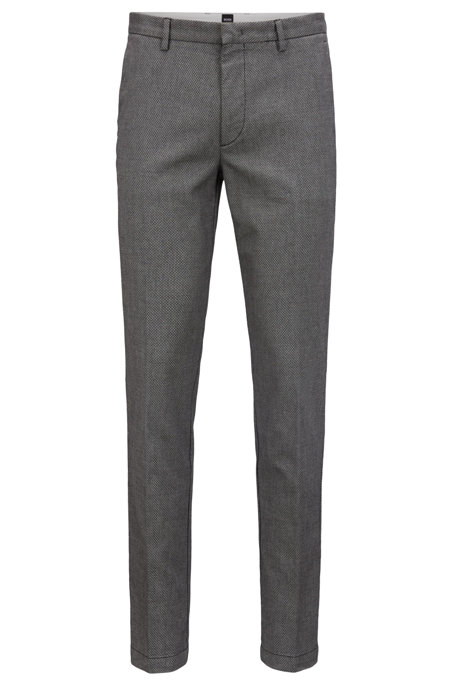 Slim-fit chinos in stretch fabric with tapered leg, Black