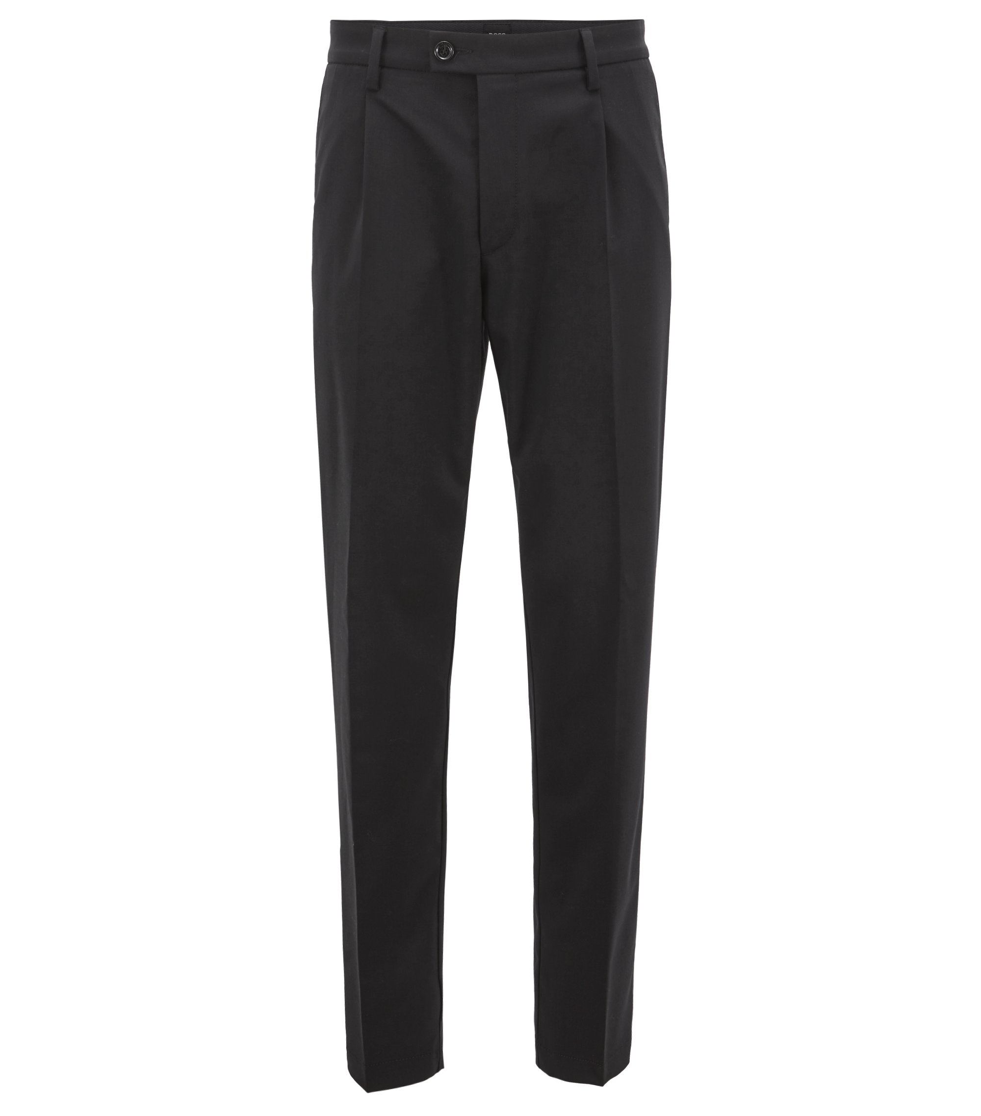 Regular-fit chinos in a mercerized stretch-wool blend, Black