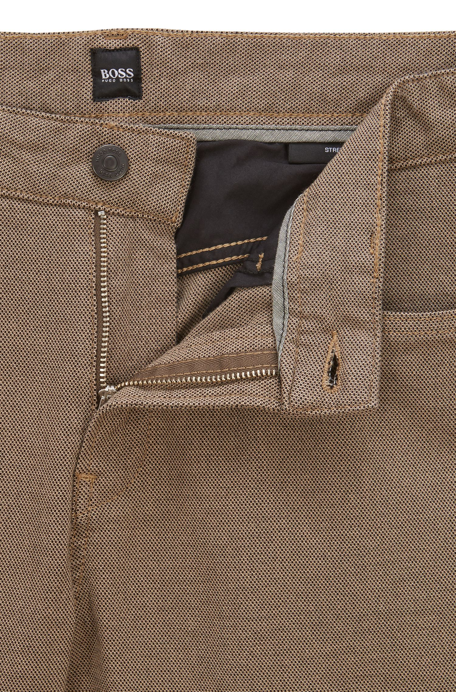 Slim-fit jeans in two-colored micro-structured denim, Beige
