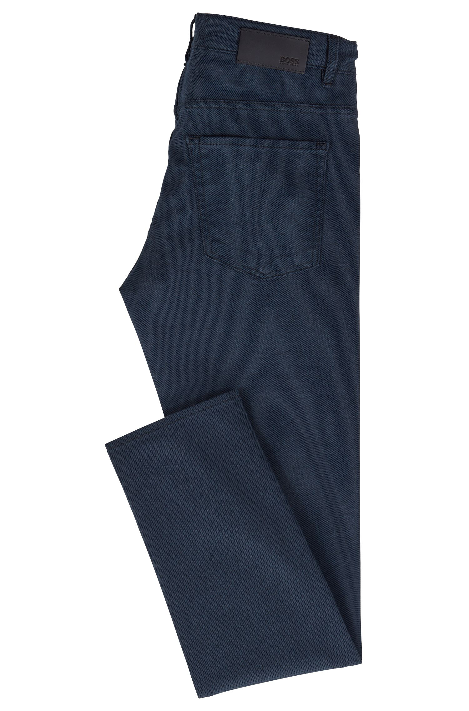 Slim-fit jeans in two-colored micro-structured denim, Open Blue