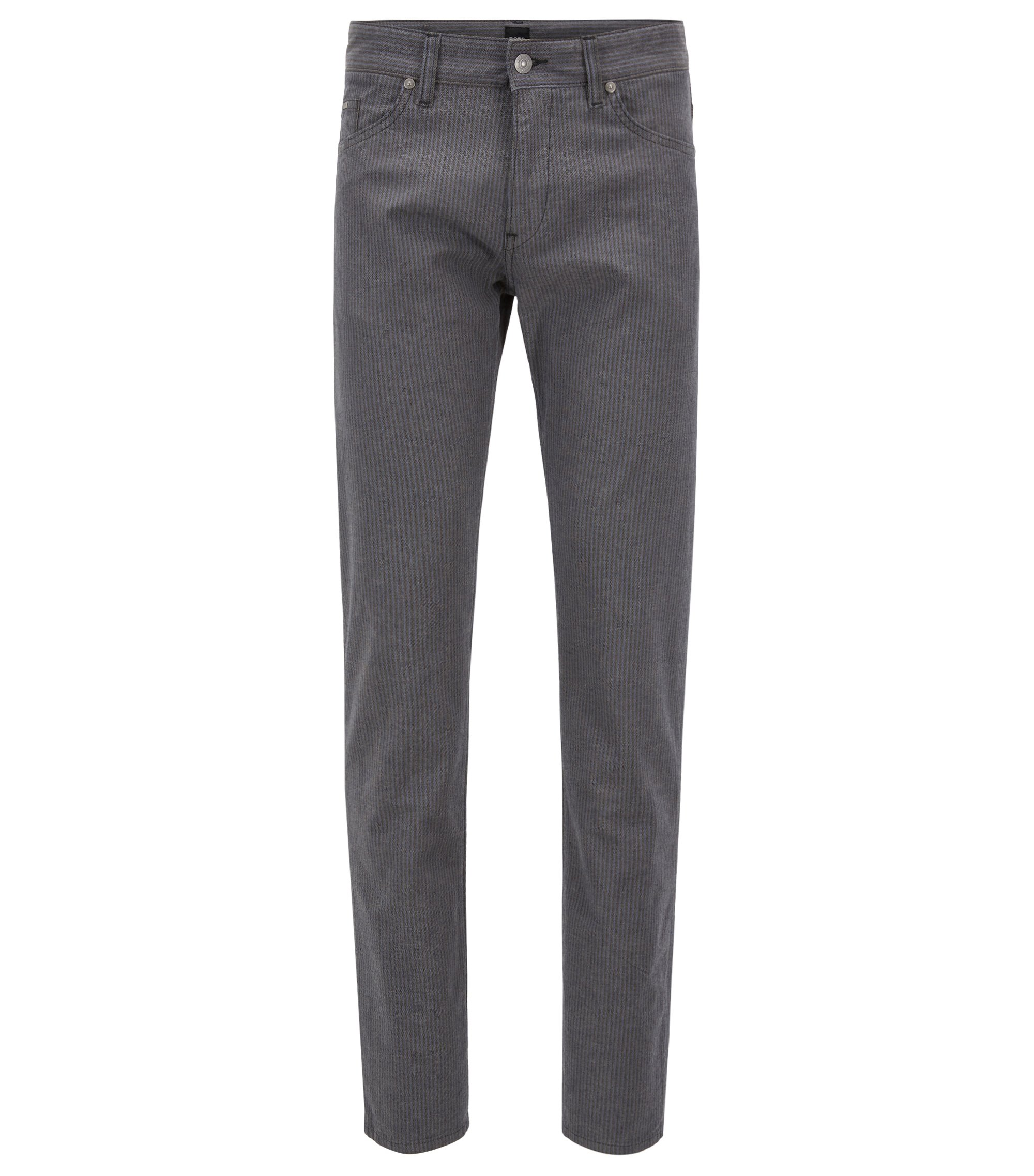 Slim-fit jeans in brushed stretch-cotton herringbone, Grey