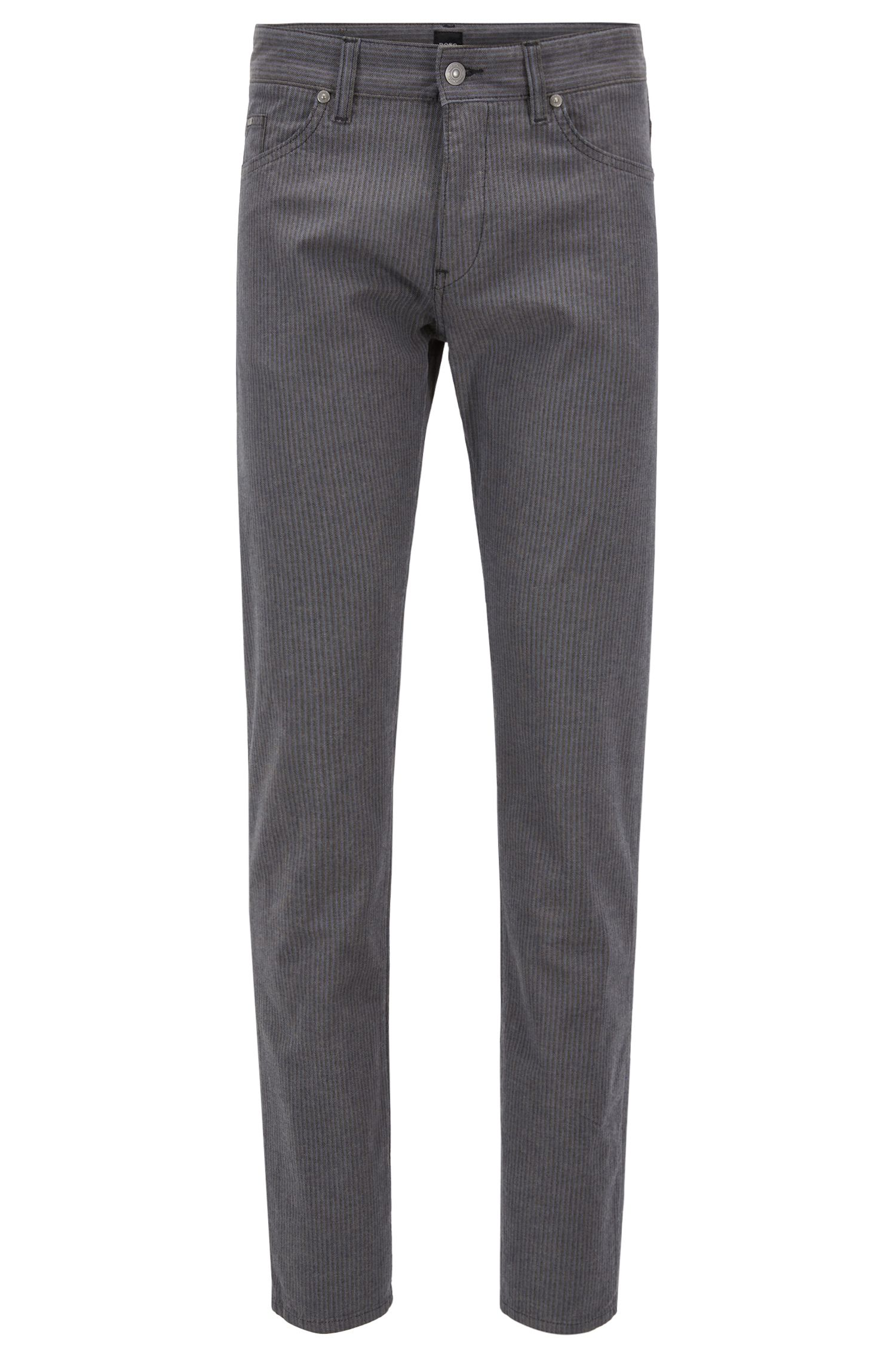 Slim-fit jeans in brushed stretch-cotton herringbone, Grey