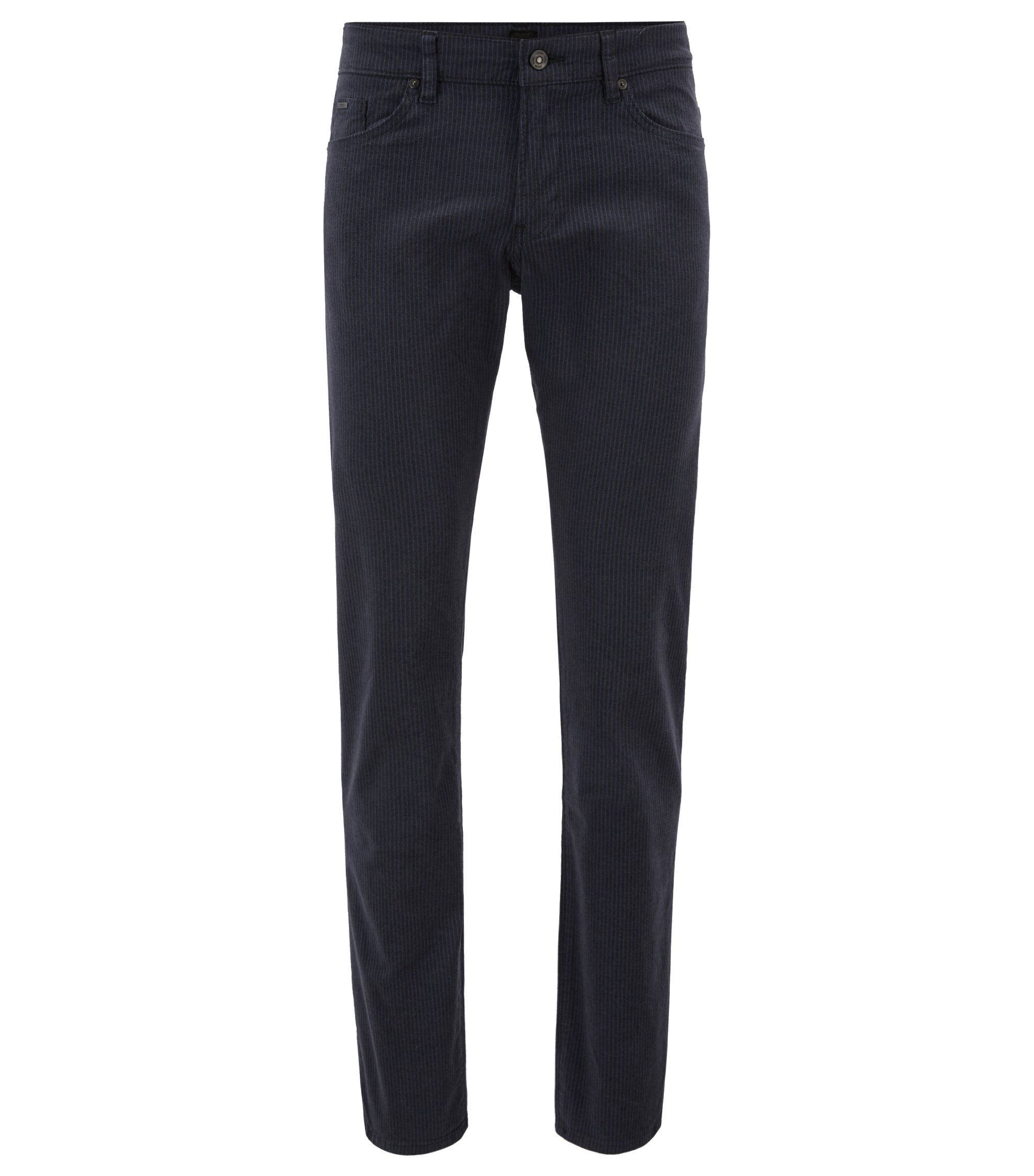 Slim-fit jeans in brushed stretch-cotton herringbone, Open Blue