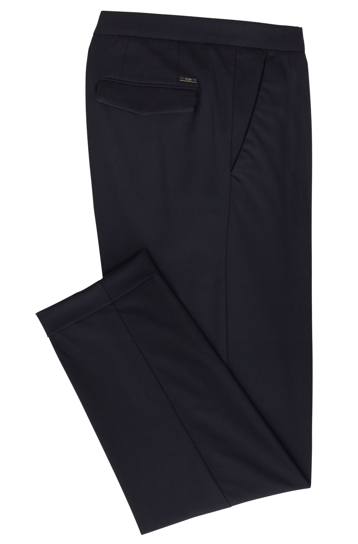 Relaxed-fit chinos in a stretch-wool blend, Open Blue