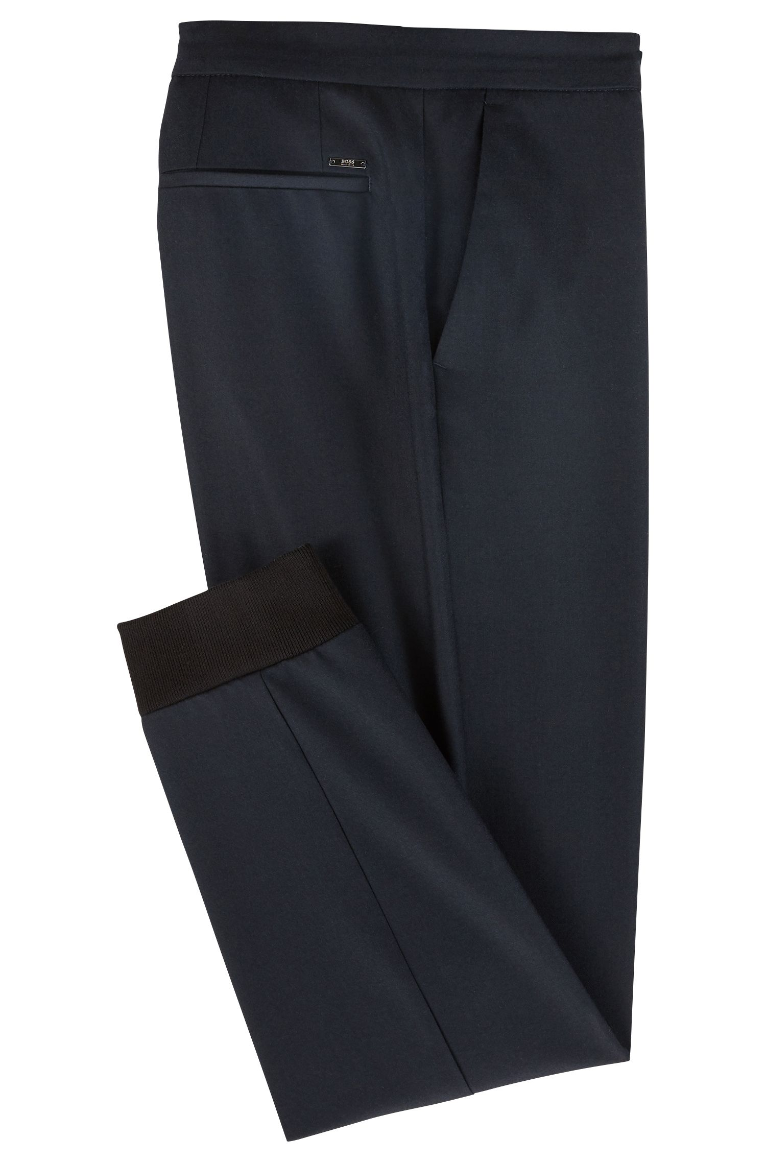 Relaxed-fit chinos in virgin-wool flannel with cuffed hems, Open Blue