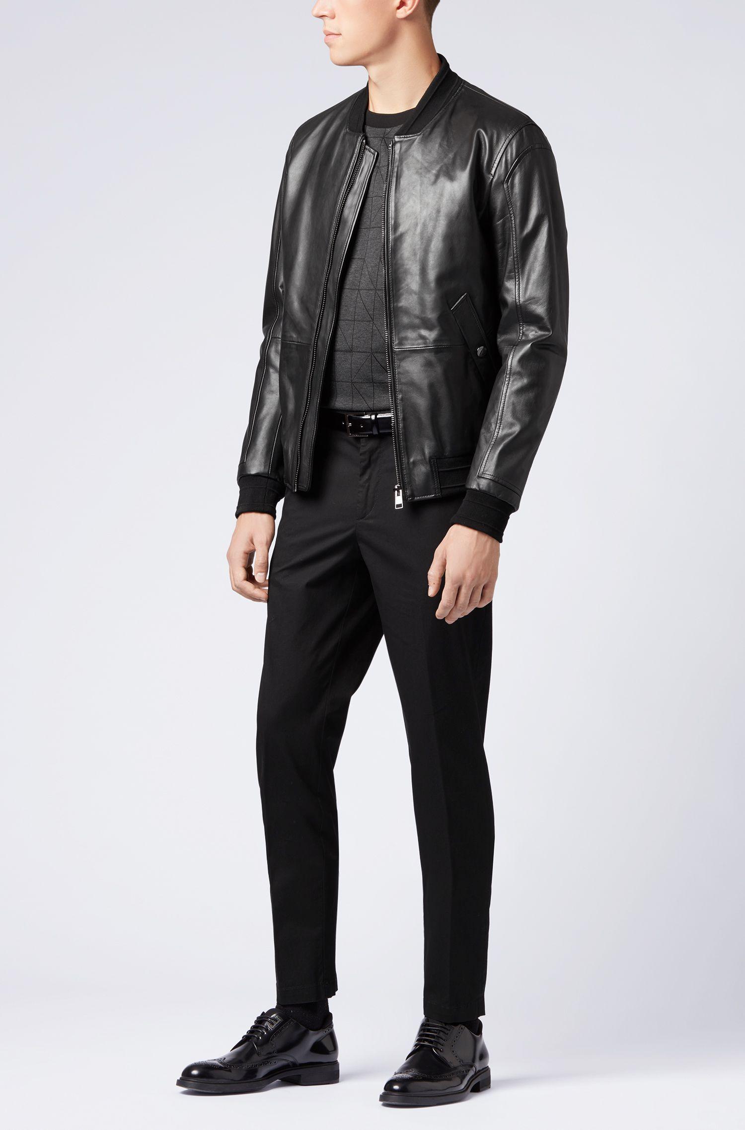 Slim-fit chinos in mercerized stretch-cotton twill, Black