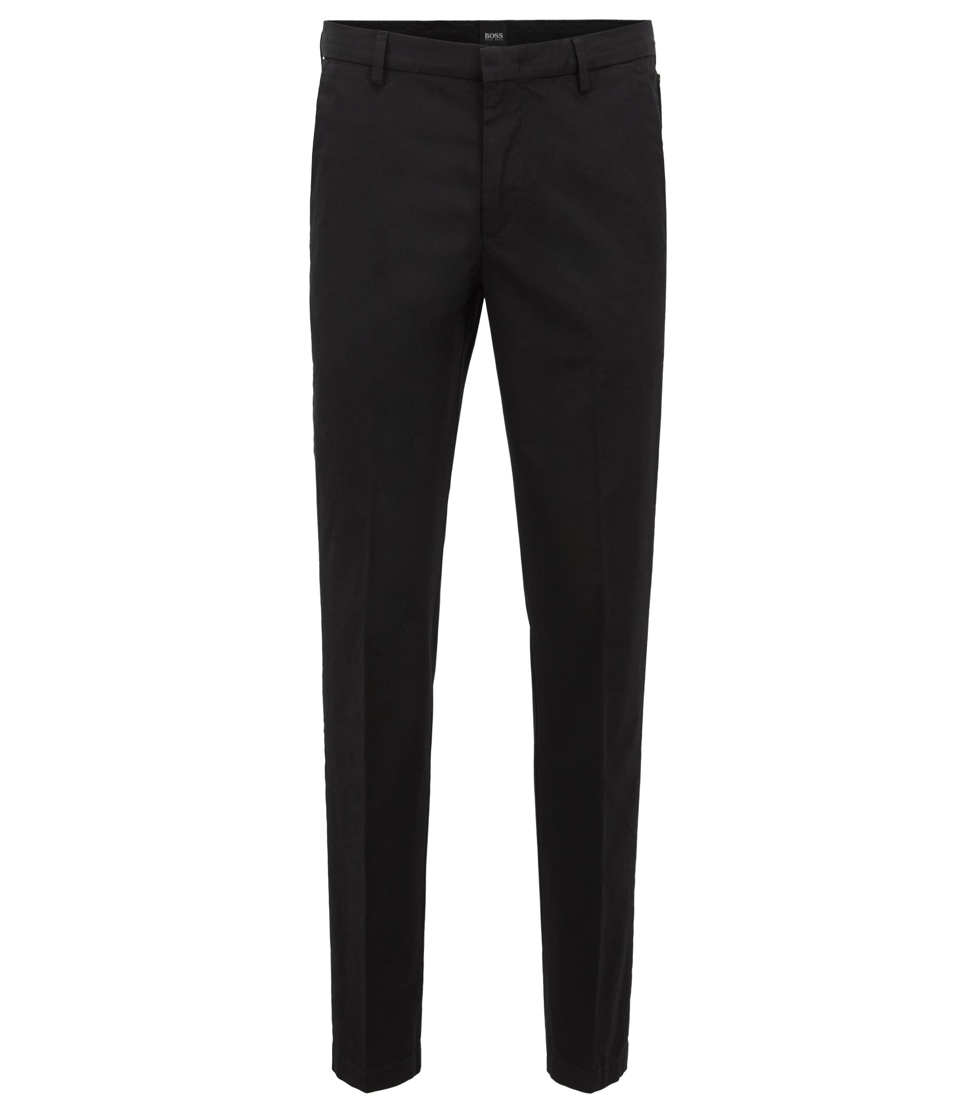 Slim-fit chinos in mercerized stretch-cotton twill, Black