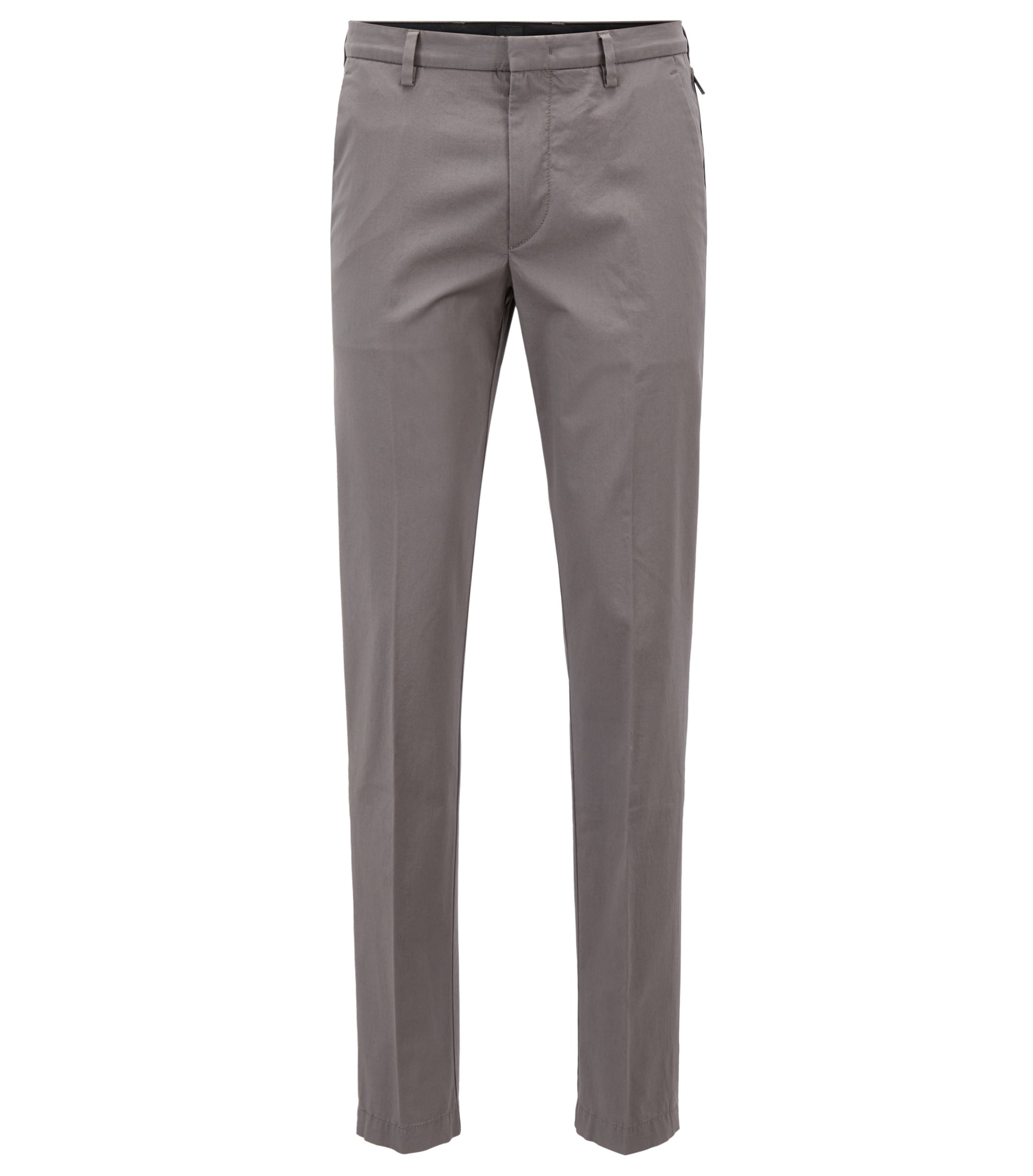 Slim-fit chinos in mercerized stretch-cotton twill, Open Grey