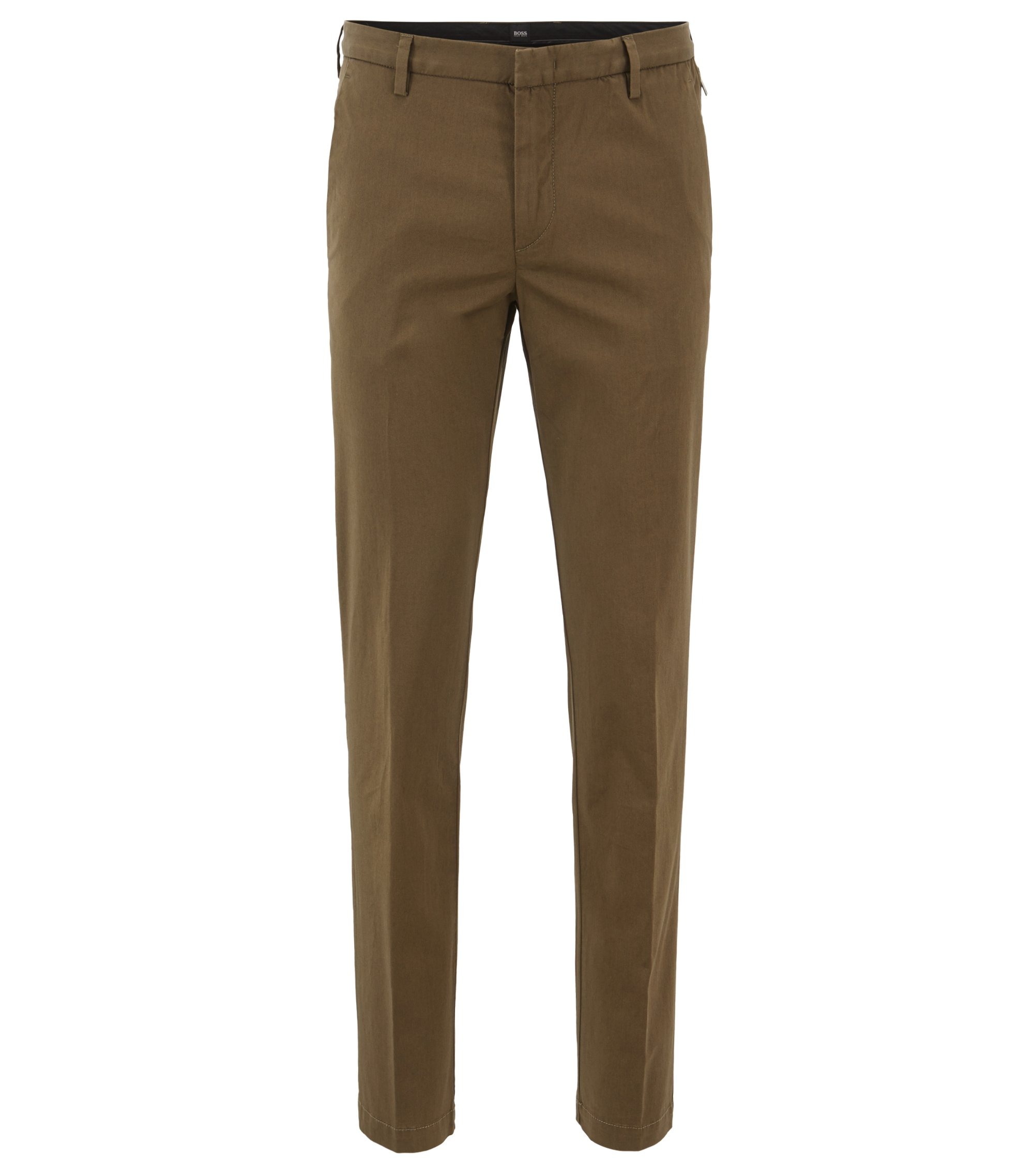 Slim-fit chinos in mercerized stretch-cotton twill, Open Green