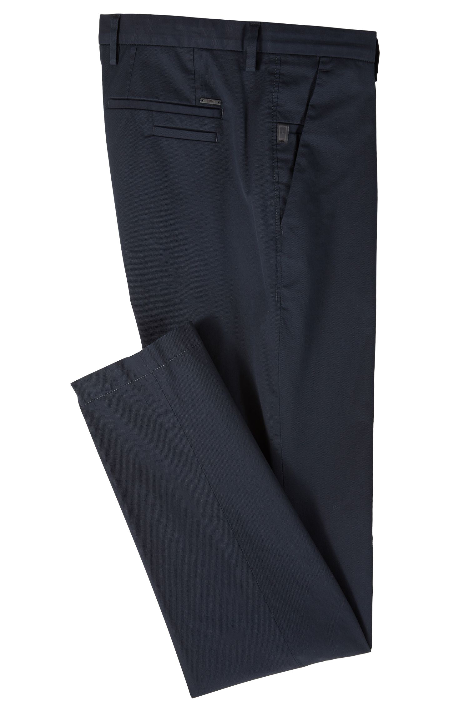 Slim-fit chinos in mercerized stretch-cotton twill, Open Blue