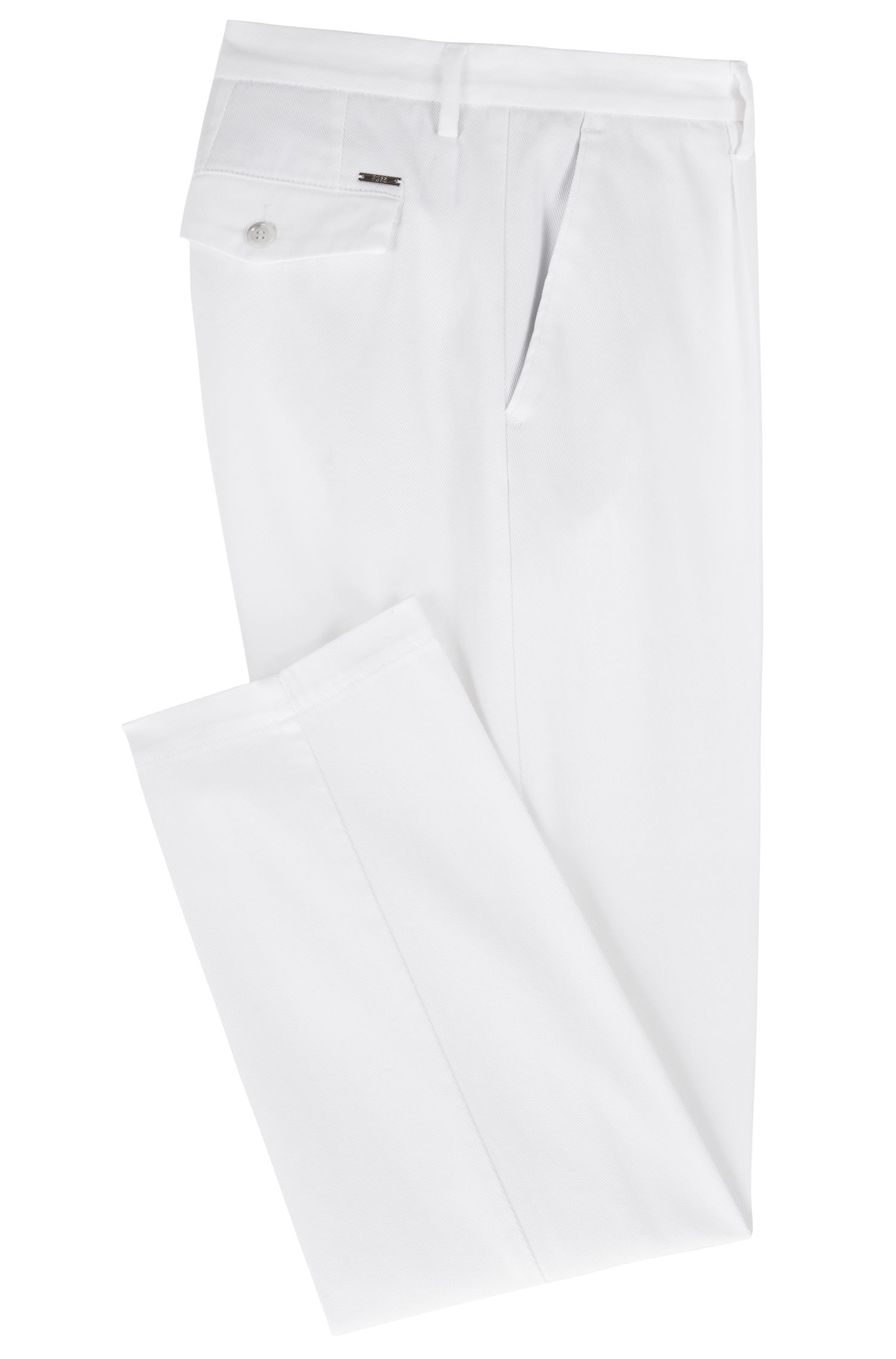Regular-fit chinos in Italian stretch-cotton twill, White