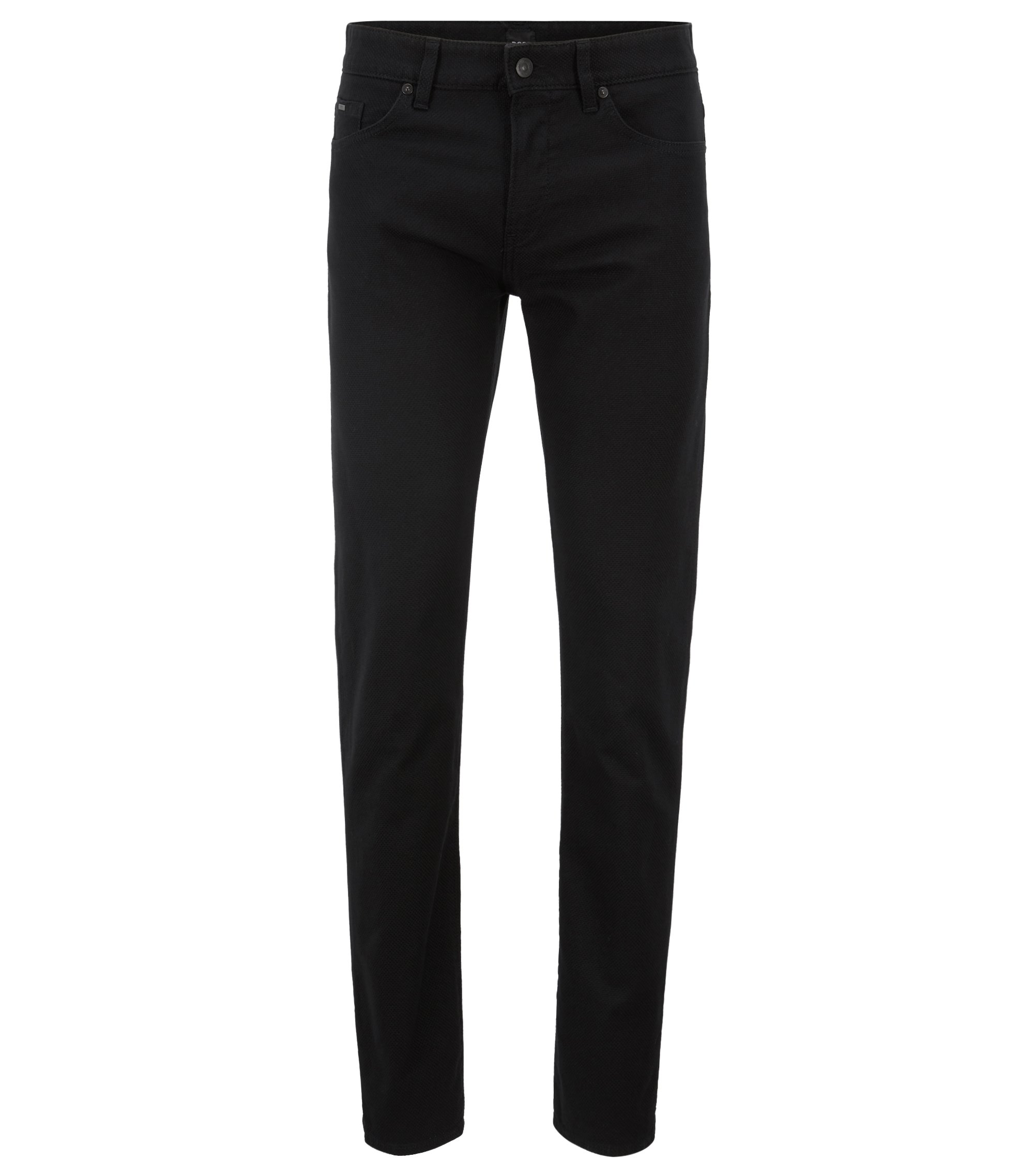 Slim-fit jeans in Italian 3D-structured stretch denim, Black