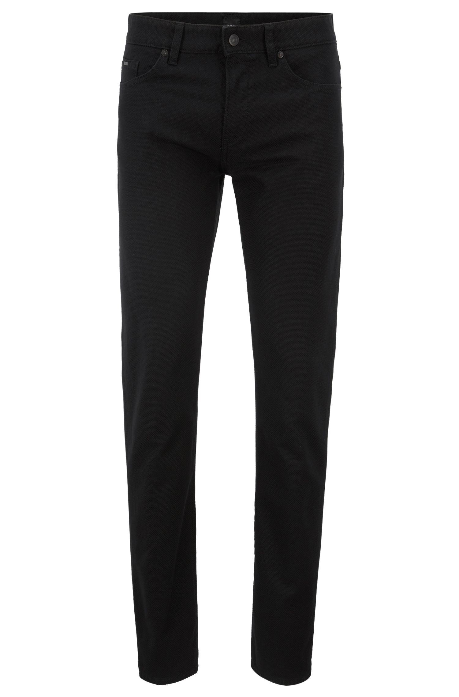 Slim-fit jeans in Italian 3D-structured stretch denim, Black
