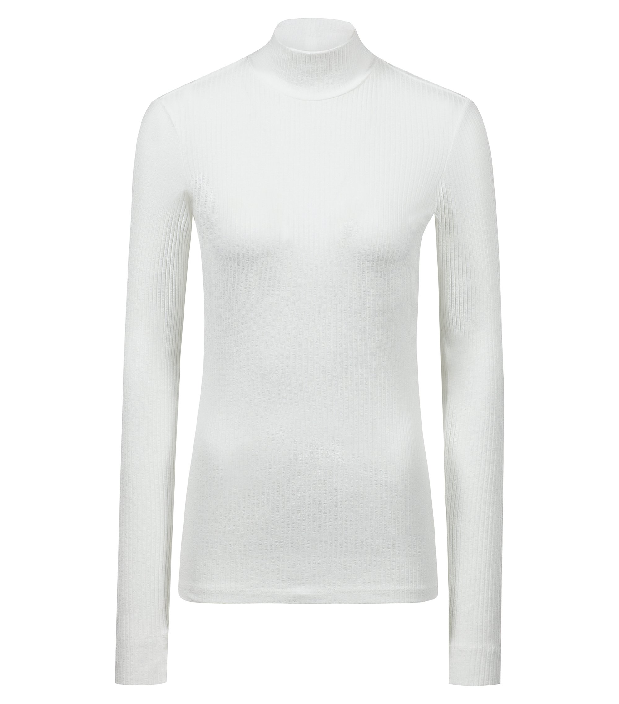 Slim-fit long-sleeved ribbed T-shirt with turtleneck, Natural