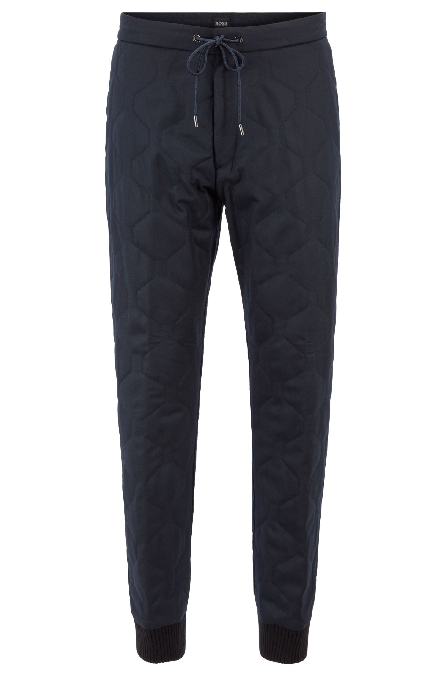 Fashion Show Capsule relaxed-fit chinos in quilted flannel, Open Blue