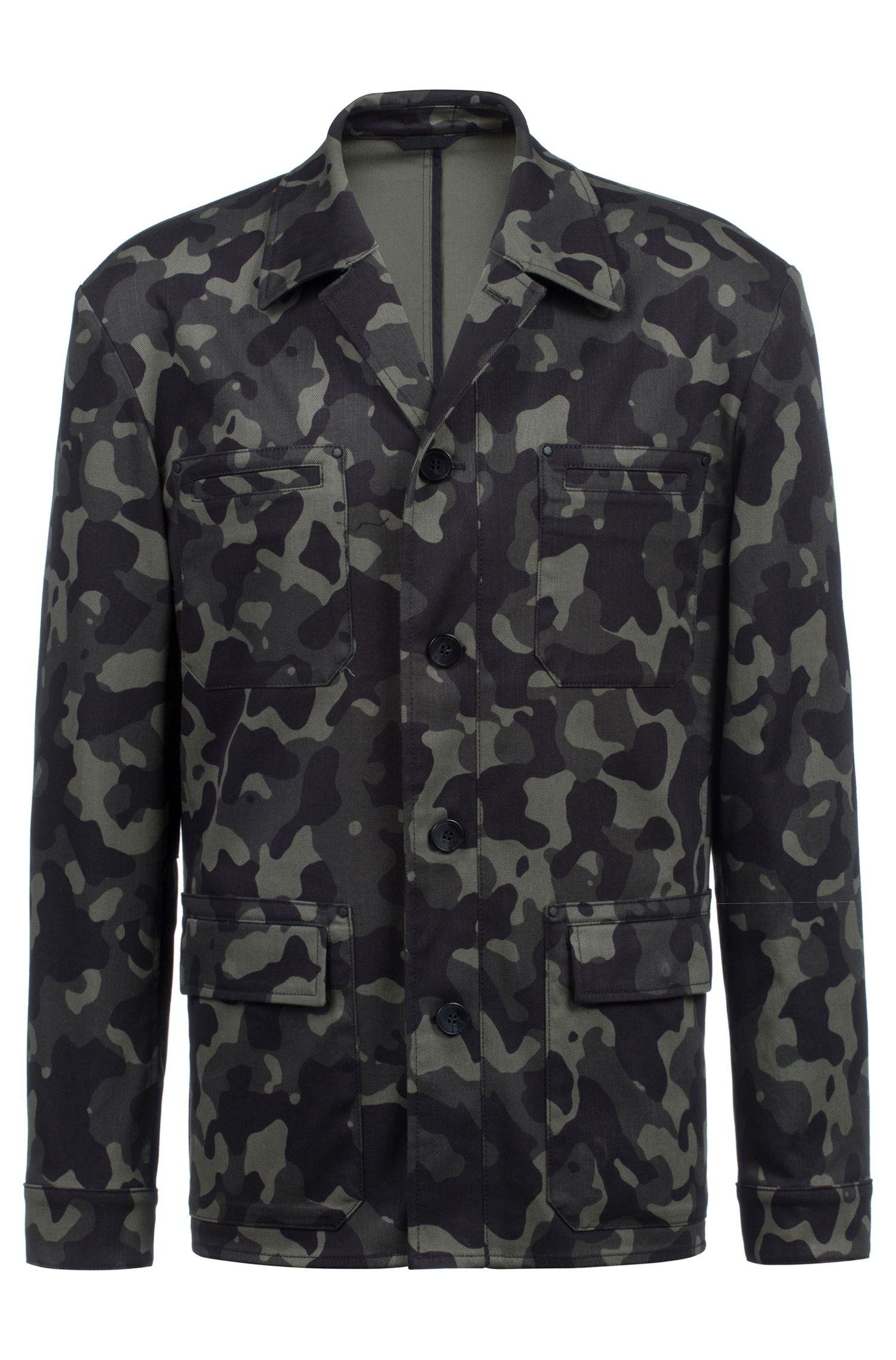 Regular-fit blazer in patterned stretch cotton, Dark Green