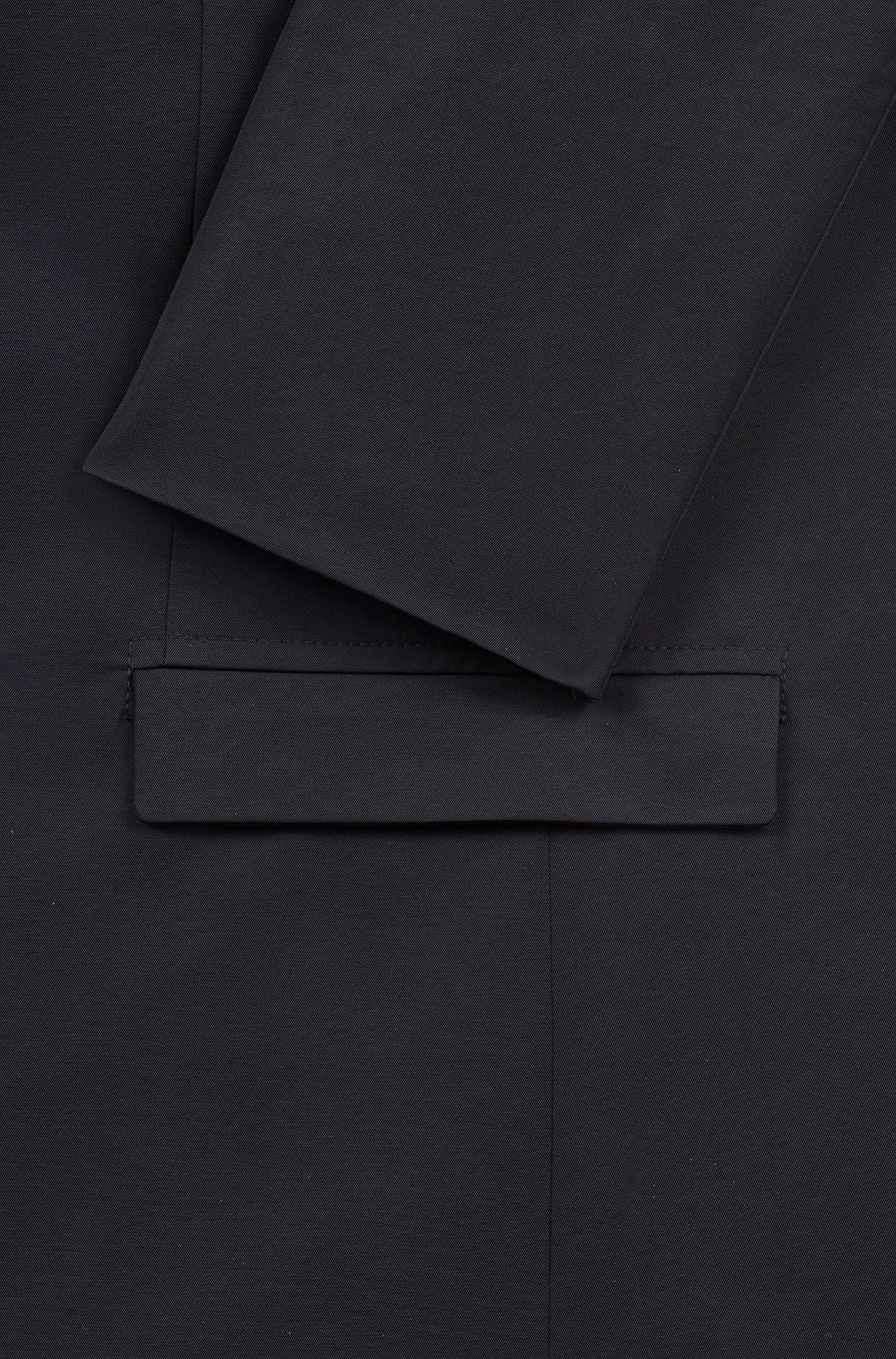 Slim-fit jacket with zippered insert, Black