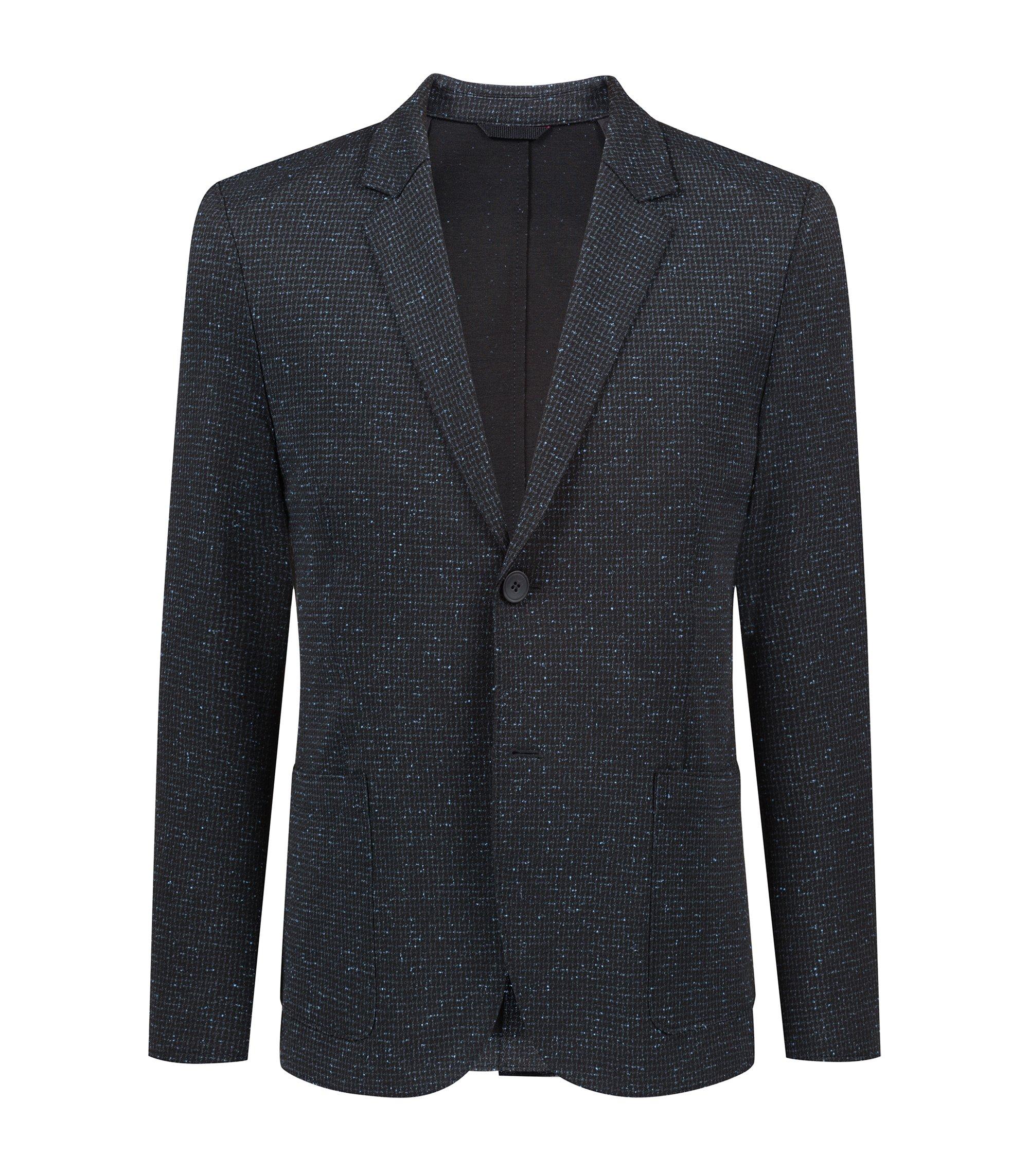 Extra-slim-fit stretch-jersey blazer with raw edges, Black