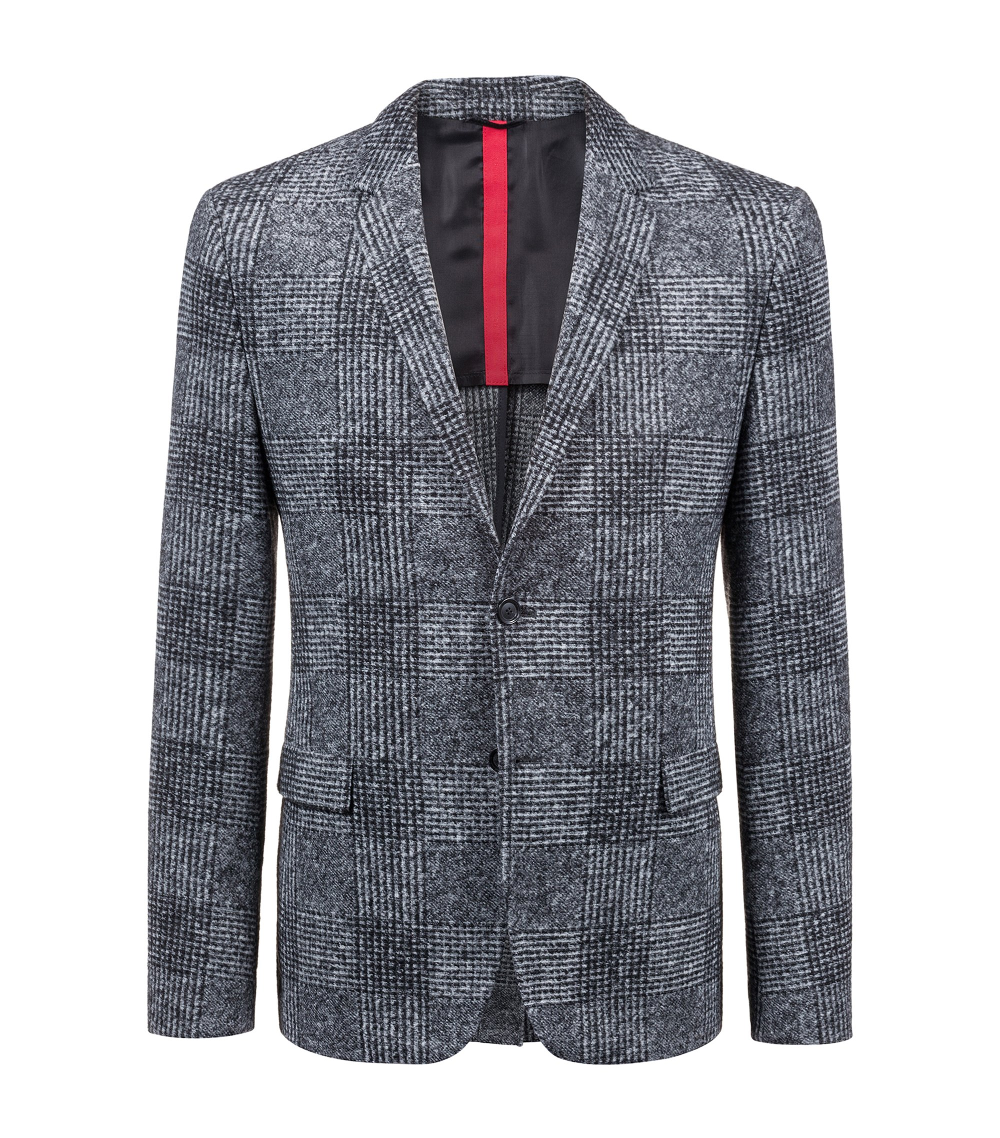 Slim-fit blazer with oversized Glen-check pattern, Charcoal