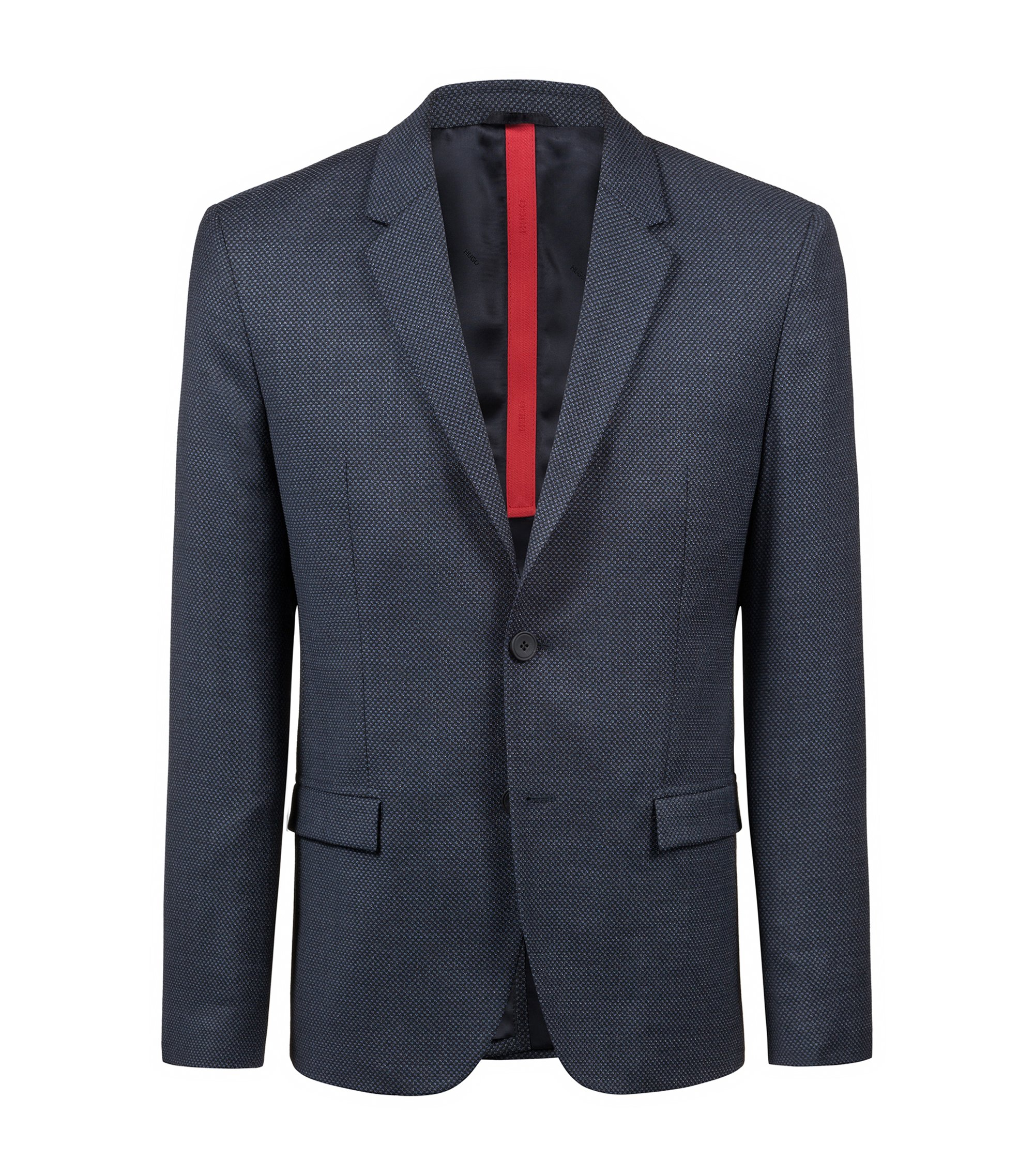 Slim-fit blazer with all-over micro pattern, Dark Blue