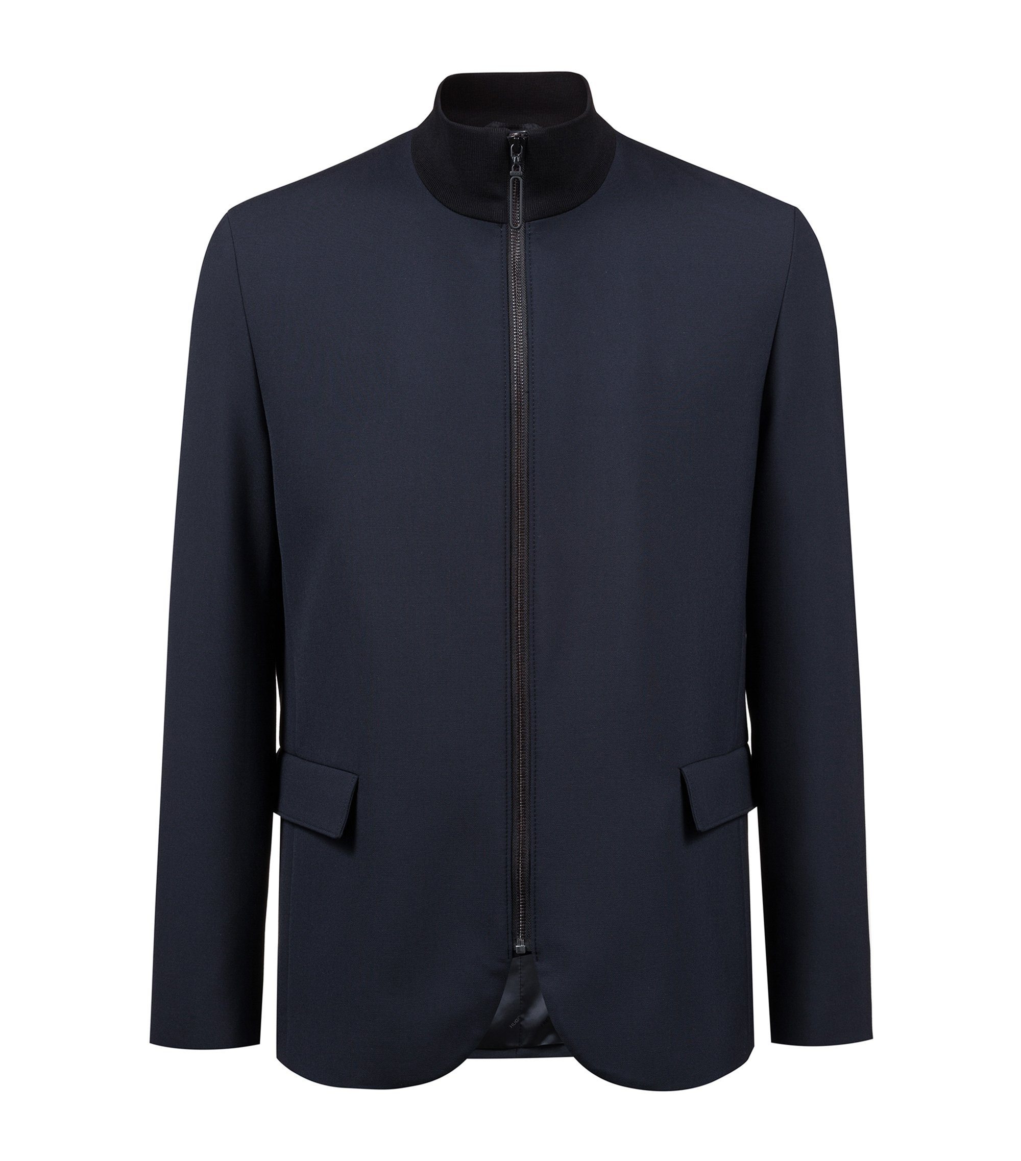Zippered jacket in stretch fabric with contrast collar, Dark Blue
