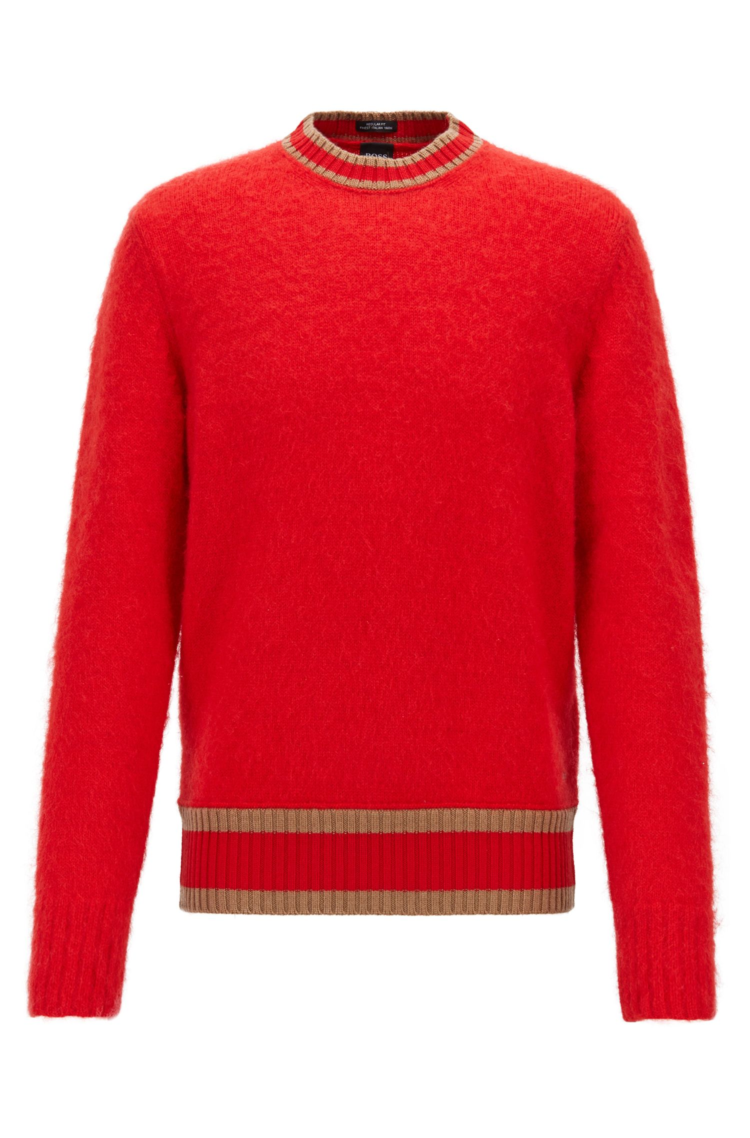 Textured wool sweater with stripe detail, Red