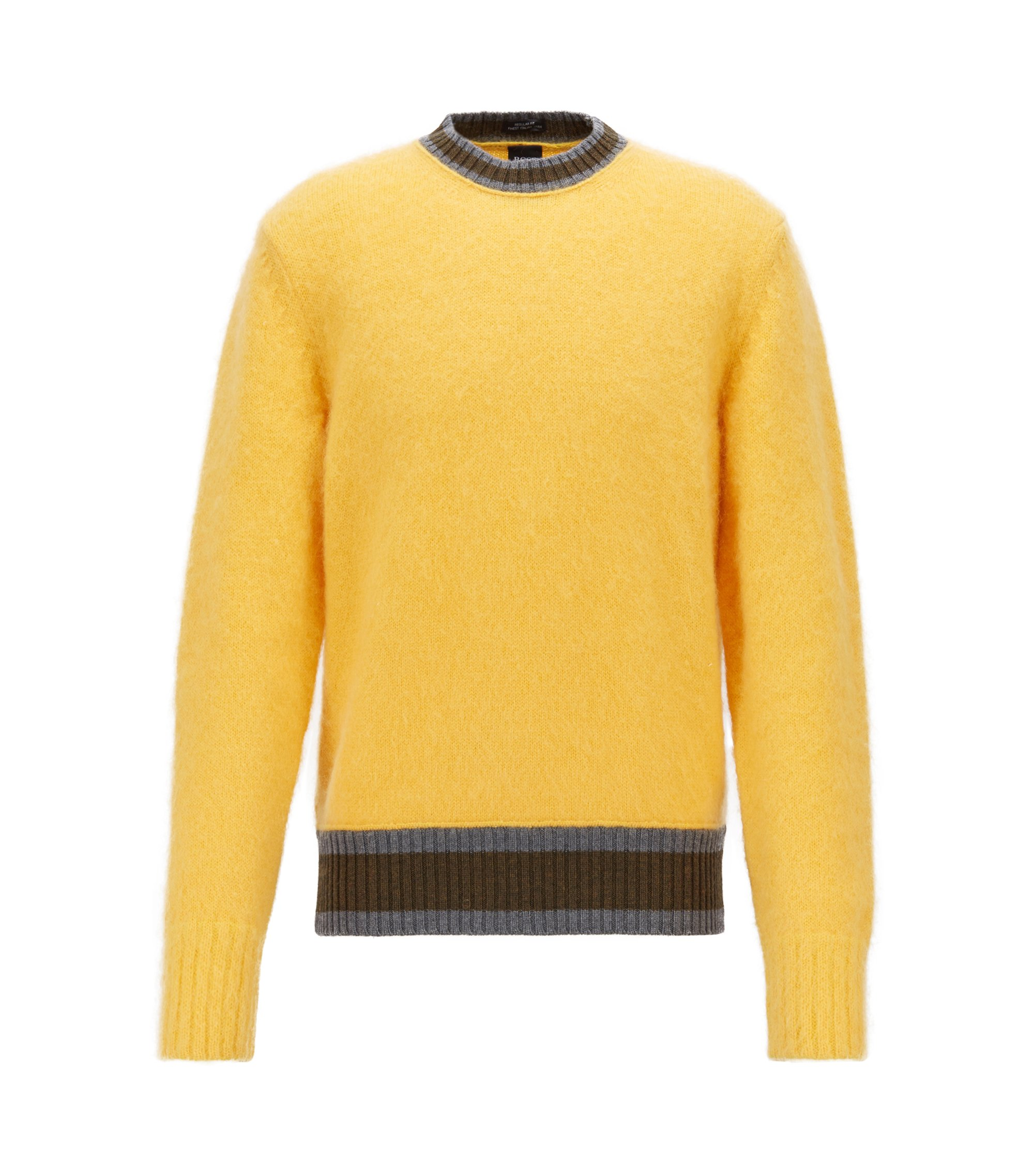 Textured wool sweater with stripe detail, Light Yellow