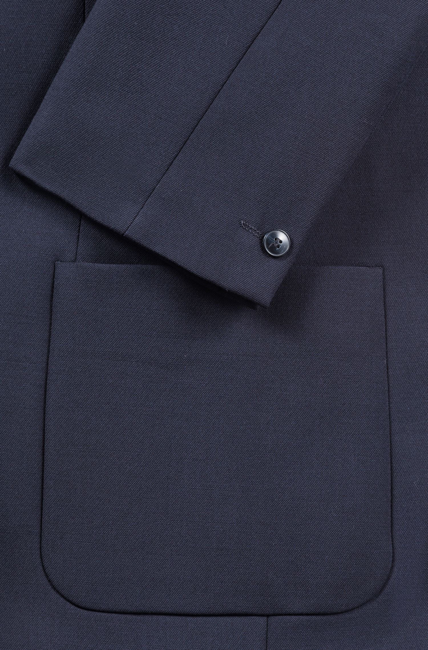 Slim-fit stretch-fabric blazer with faux-leather elbow patches, Dark Blue