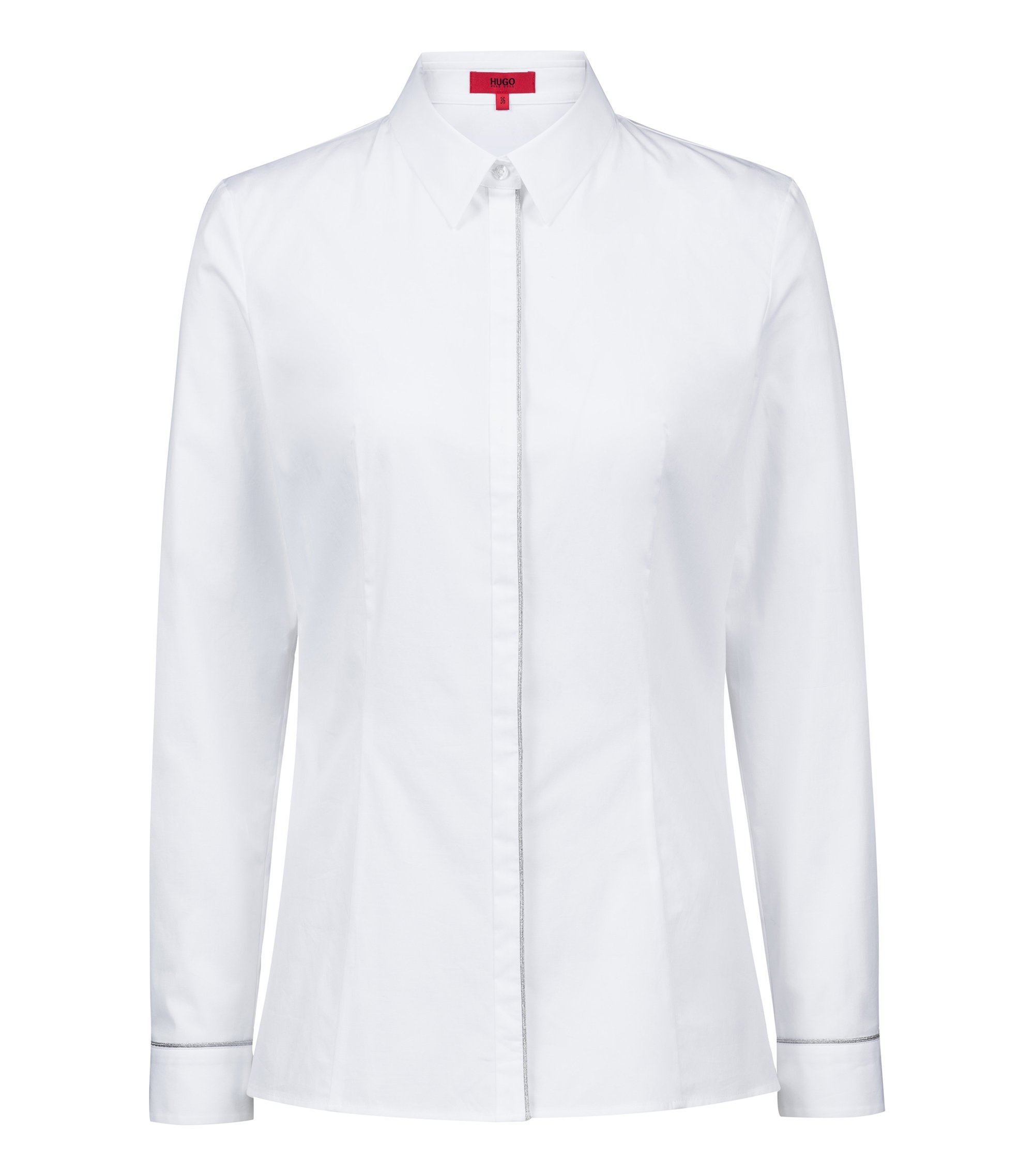 Slim-fit blouse in stretch cotton with silver trims, Open White