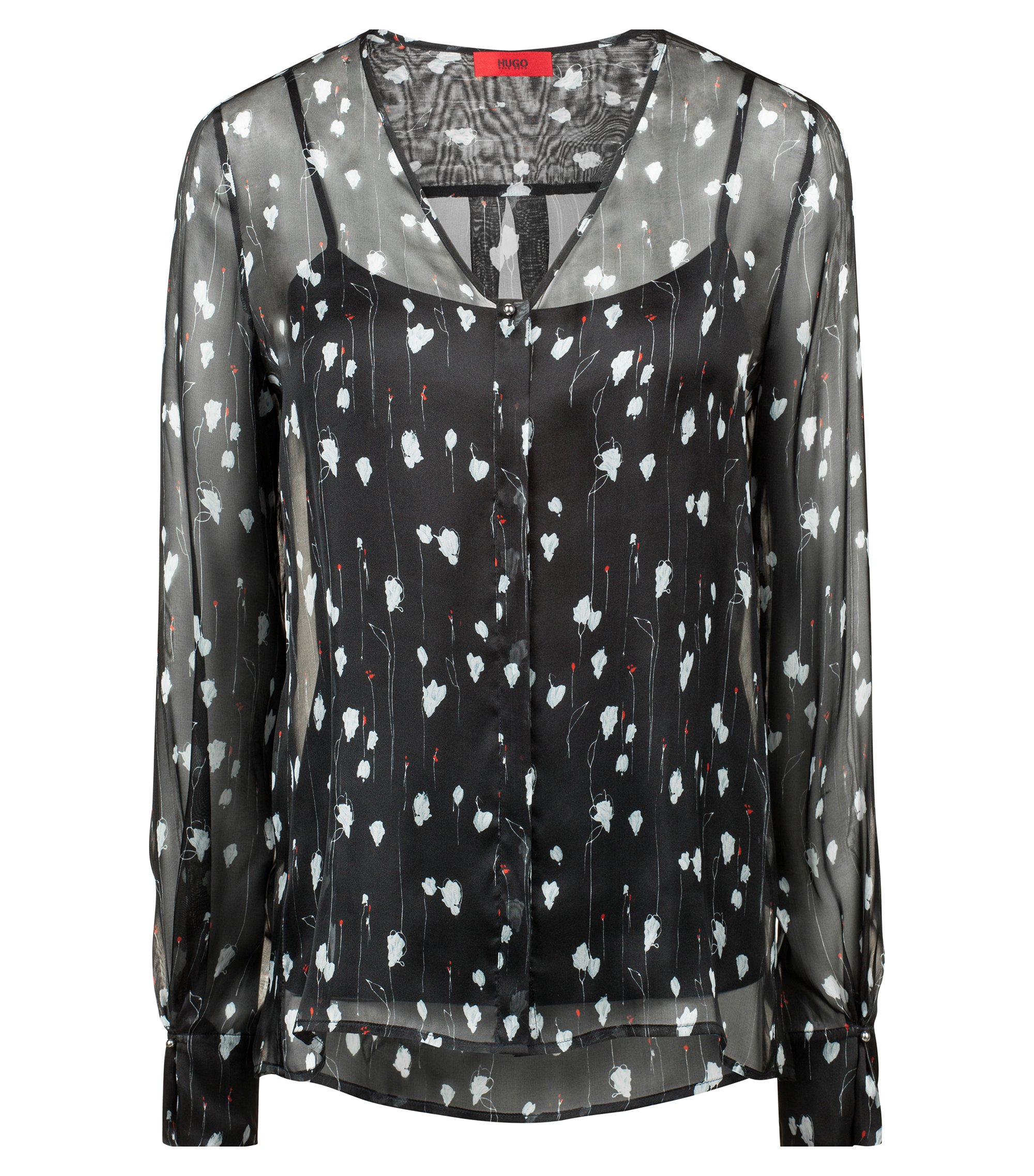 Floral-print blouse in pure silk with tonal camisole, Patterned