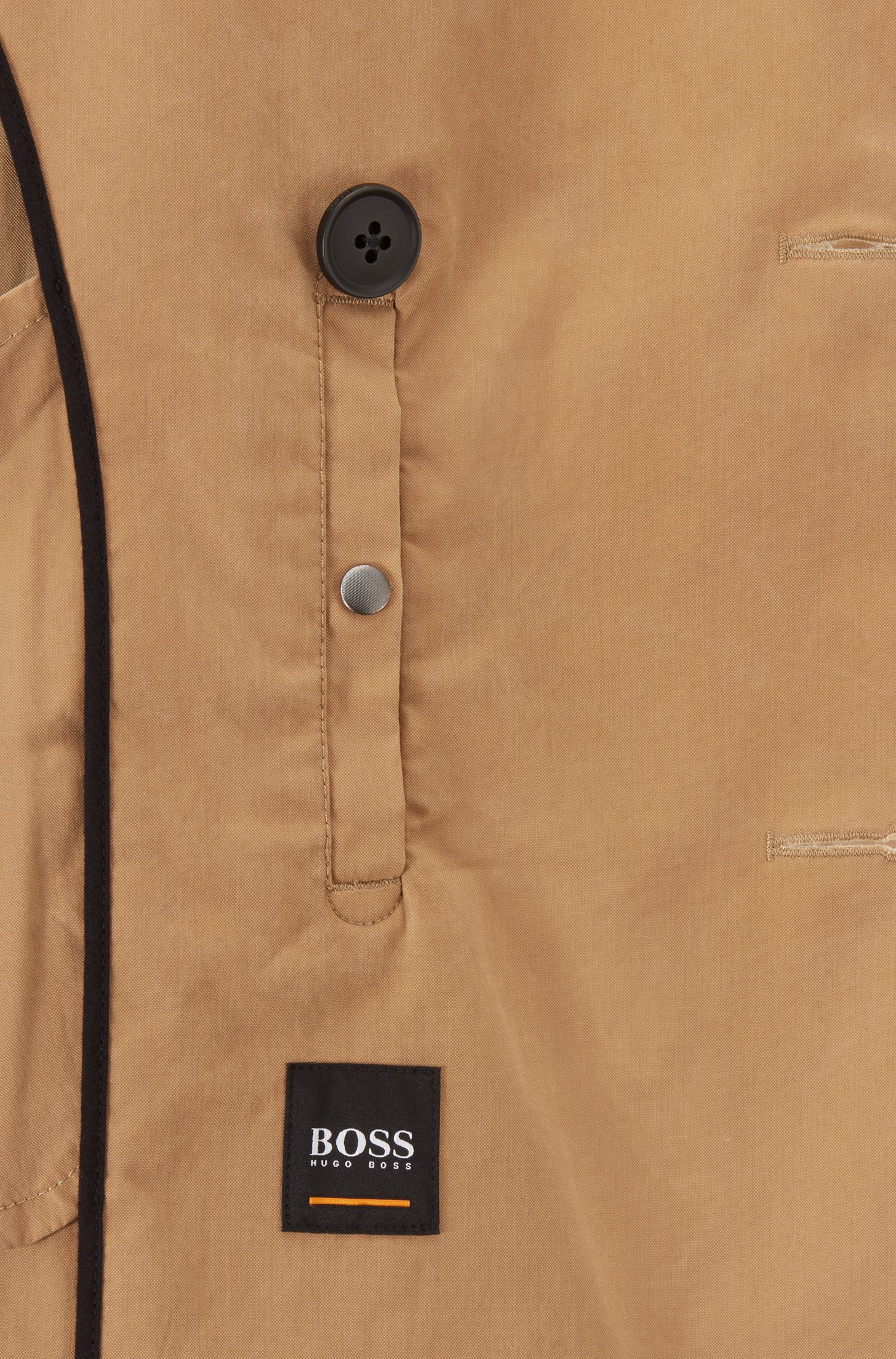 Regular-fit trench coat in a waxed cotton blend, Beige
