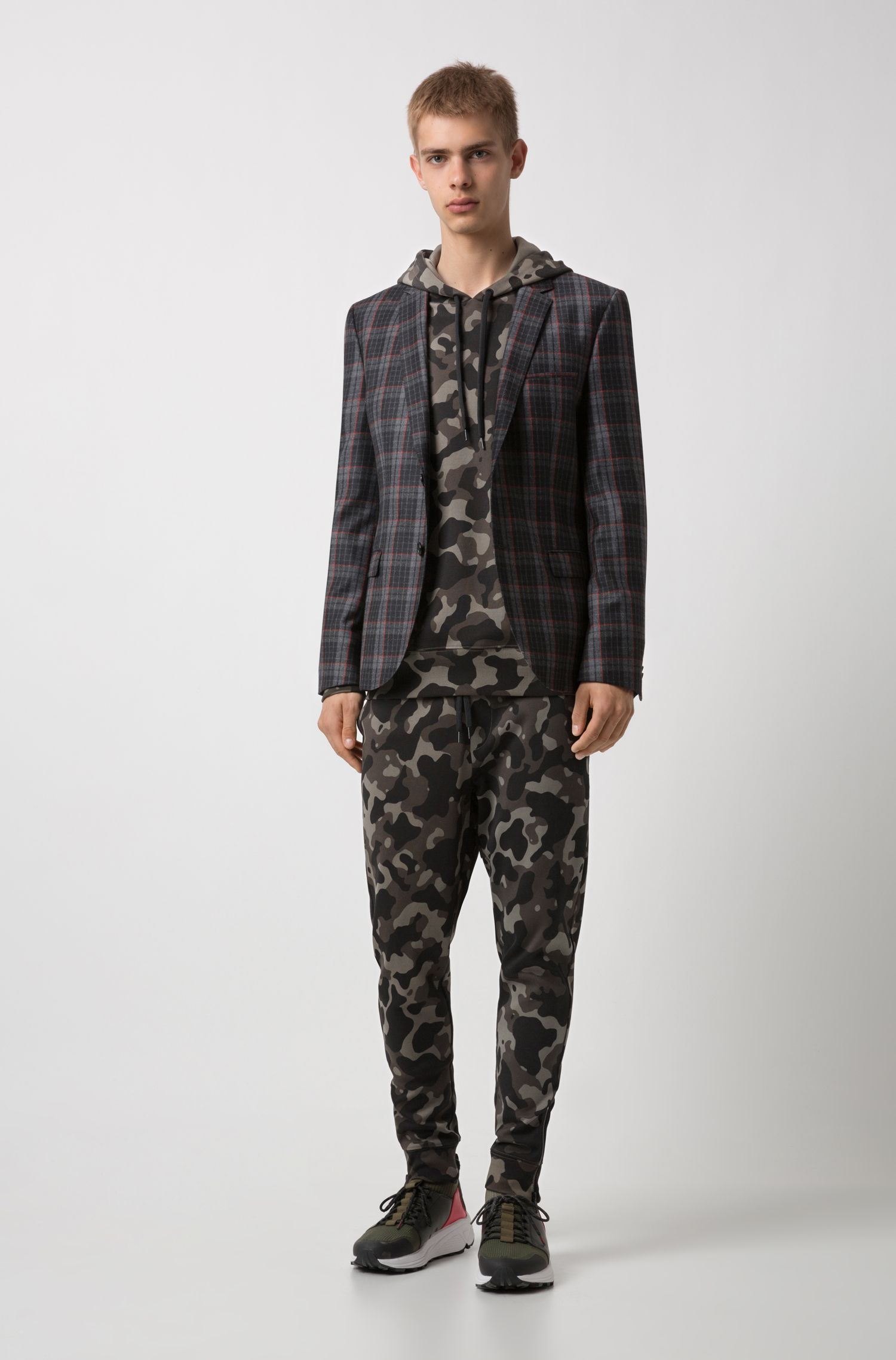 Jersey pants in camouflage-print interlock cotton, Patterned