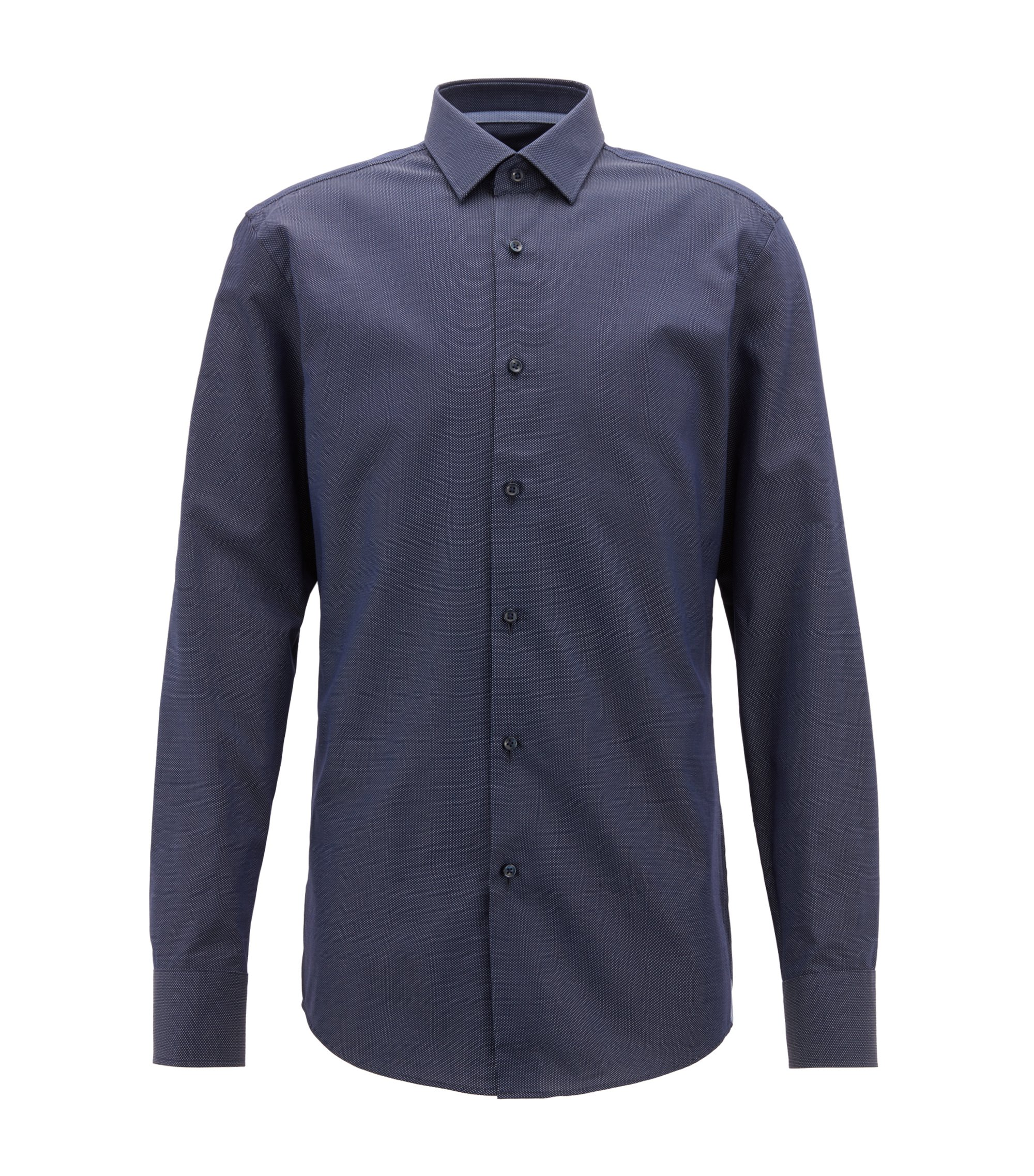 Slim-fit shirt in Italian cotton with dot motif, Dark Blue