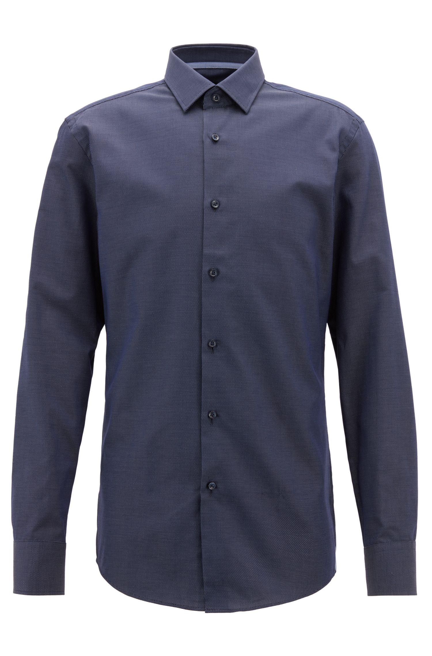 Slim-fit shirt in Italian cotton with dot motif, Dark Blue