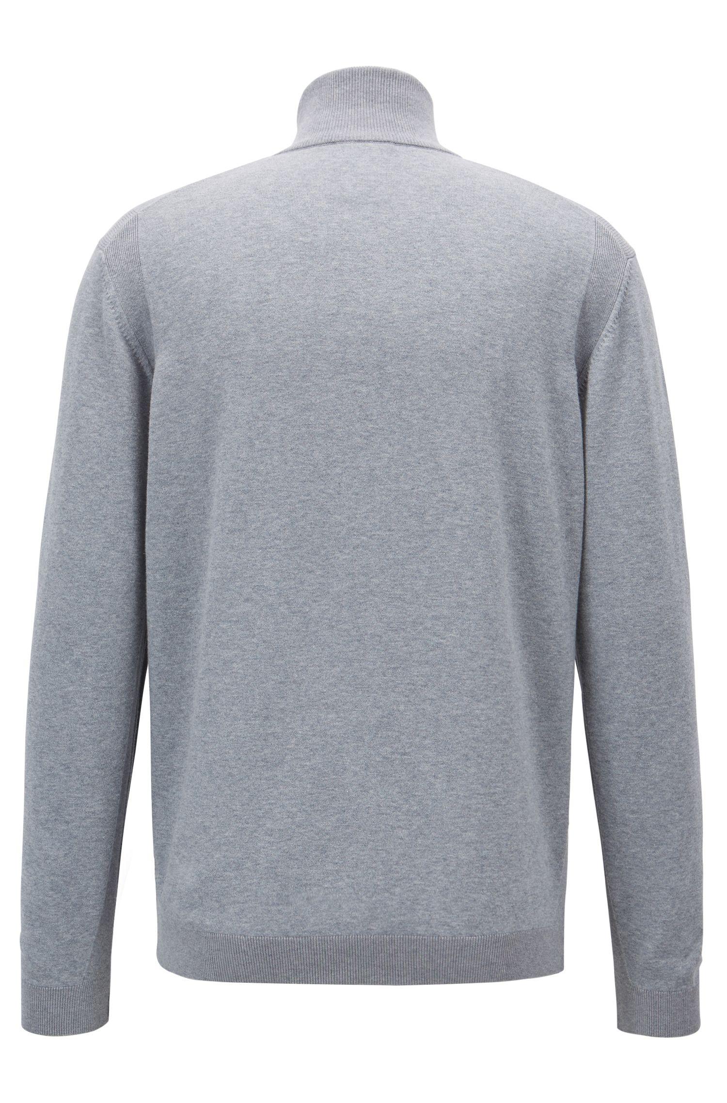 Zipper-neck sweater in a stretch-cotton blend