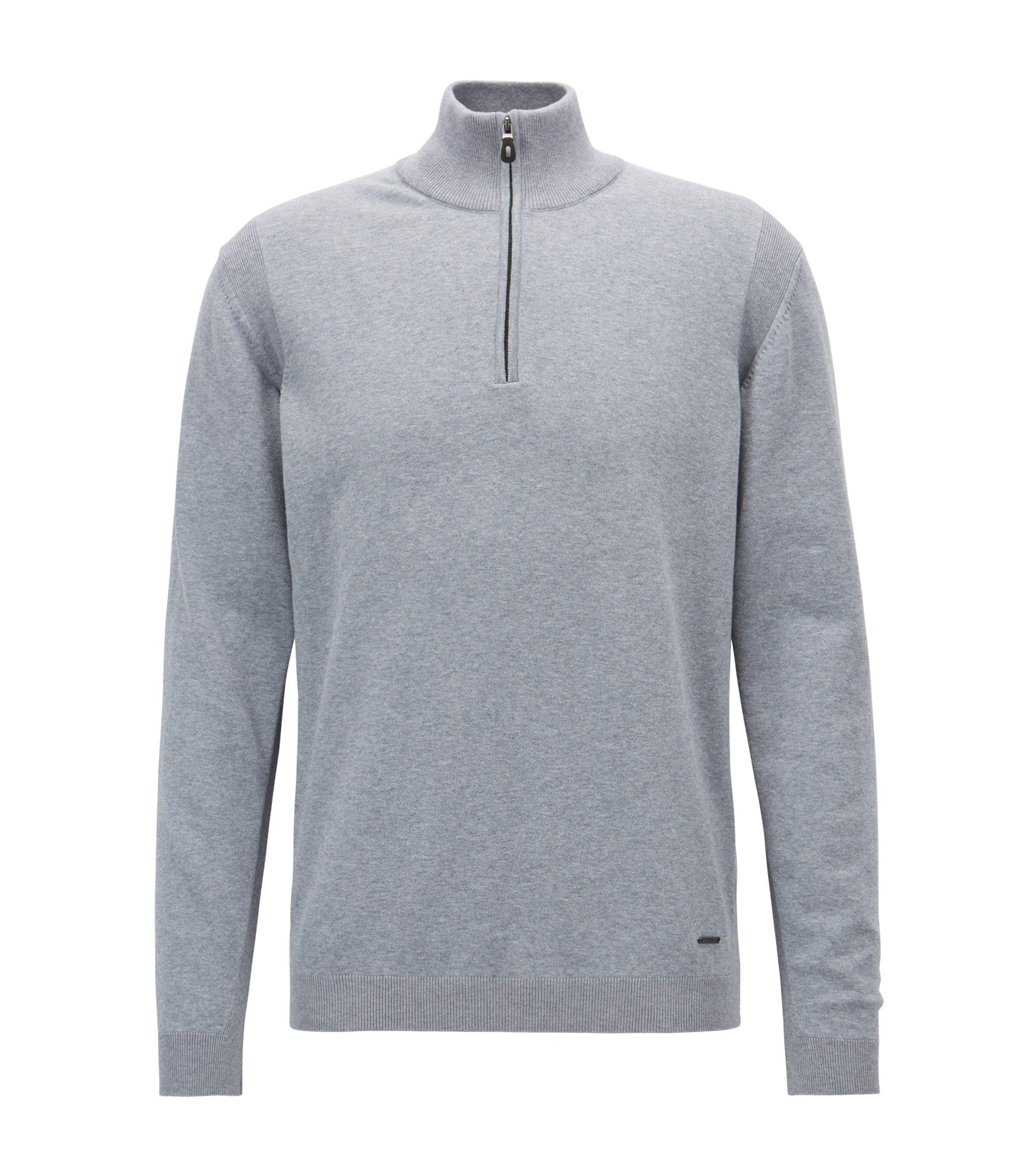 Zipper-neck sweater in a stretch-cotton blend, Open Grey