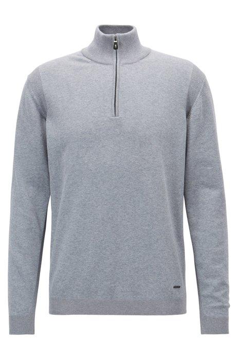 f9bc702ccc BOSS - Zipper-neck sweater in a stretch-cotton blend