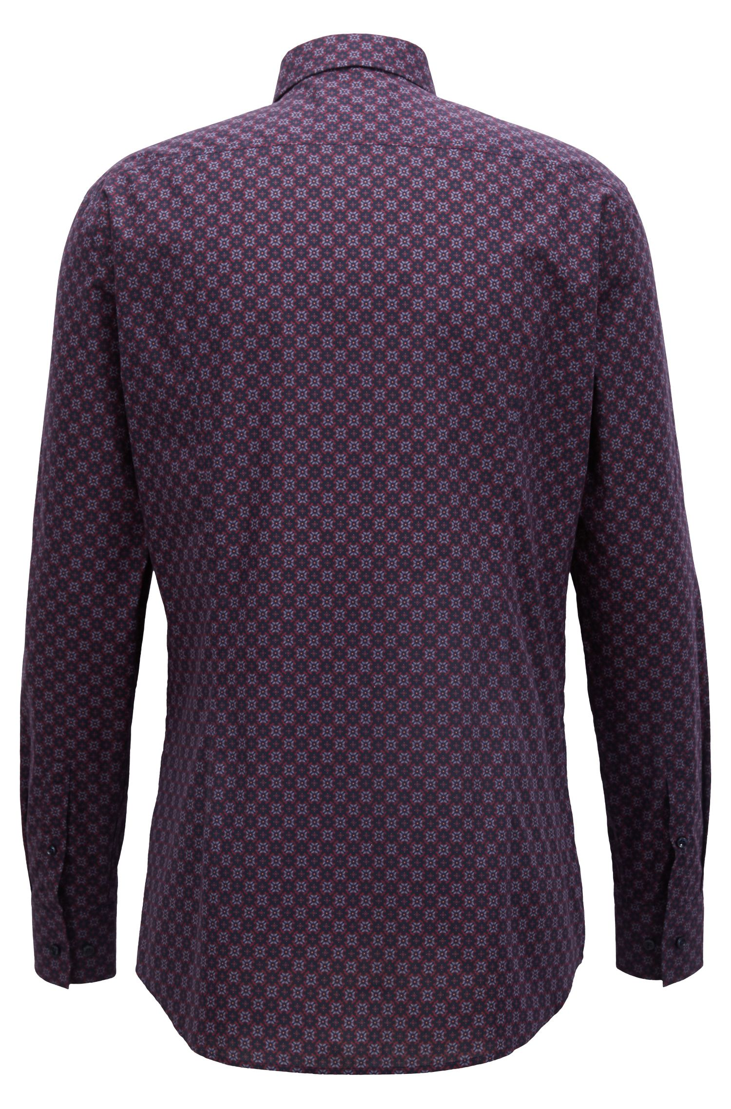 Slim-fit shirt in Italian cotton with seasonal motif, Dark Blue