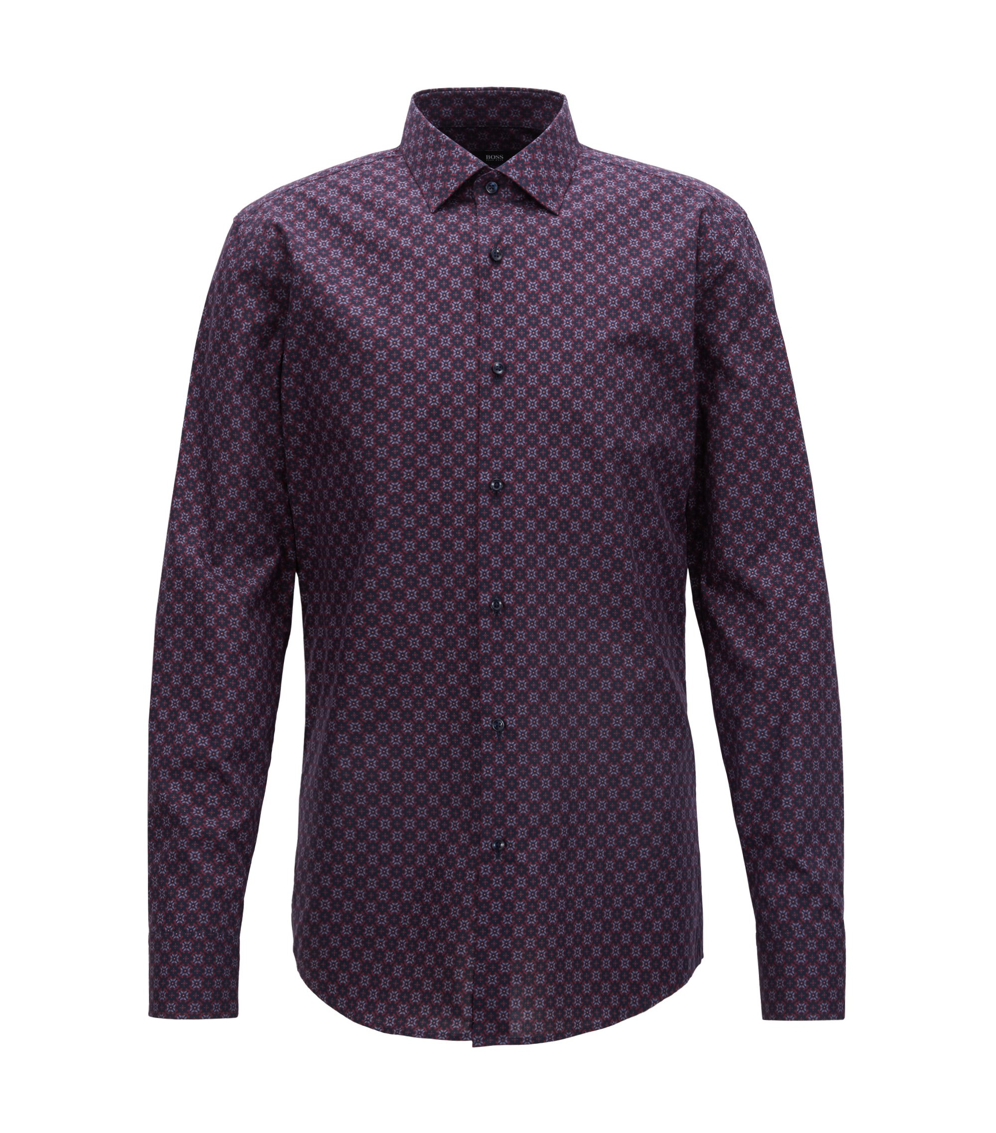 Slim-fit shirt in Italian cotton with seasonal motif, Dark Blue