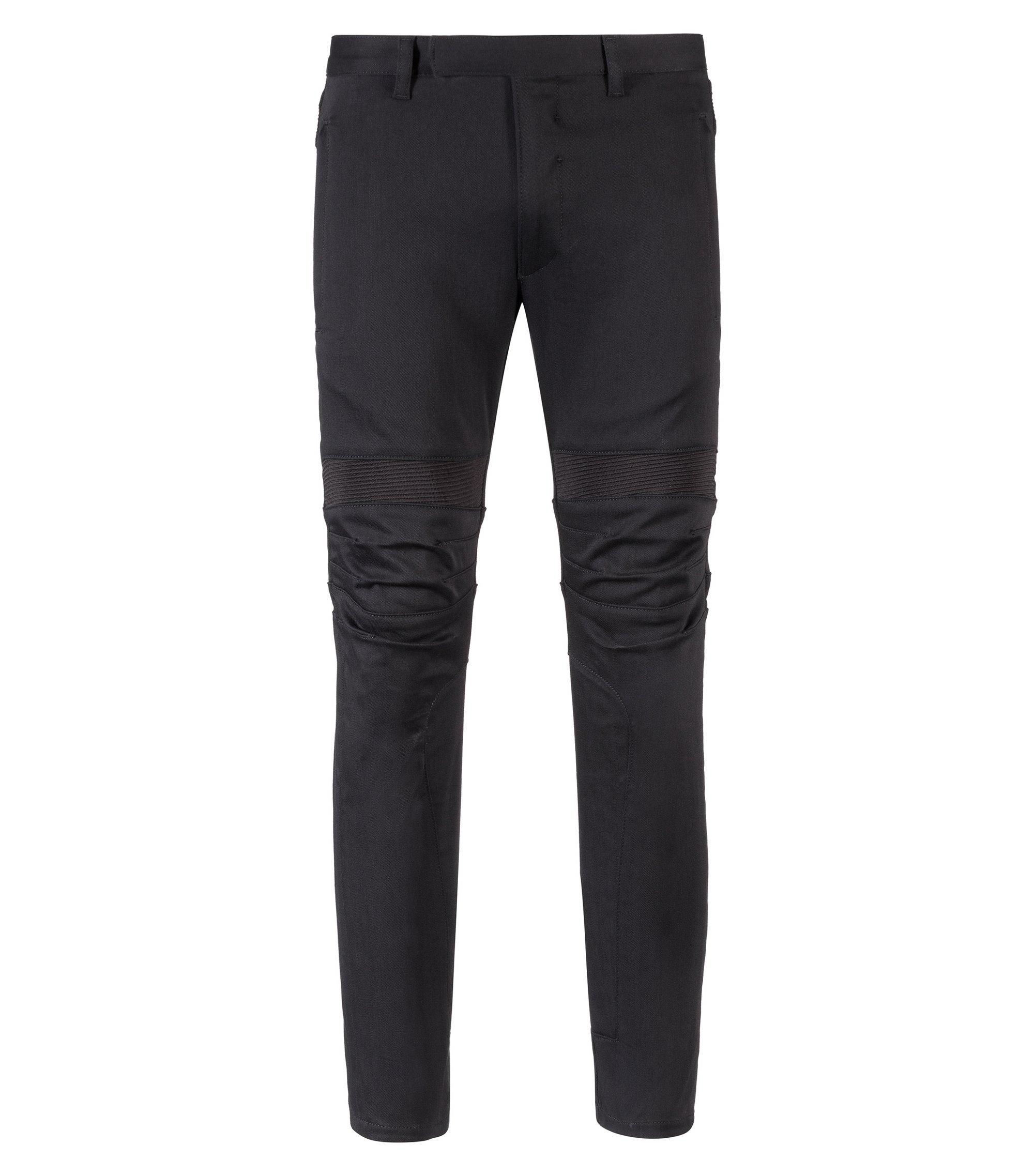 Slim-fit biker jeans in cold-black stretch denim, Black