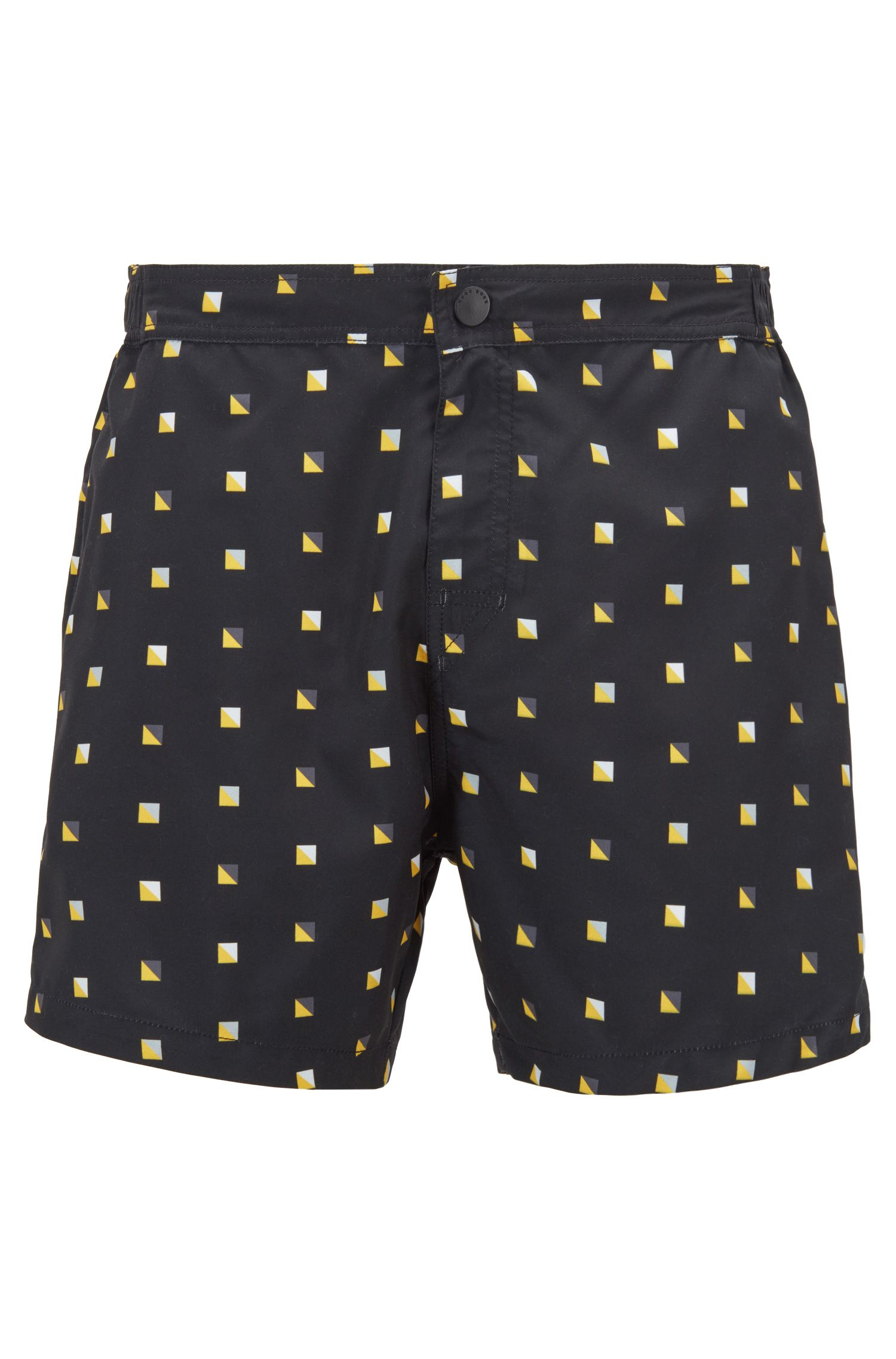 Quick-dry patterned swim shorts with embroidered back pocket, Open Grey