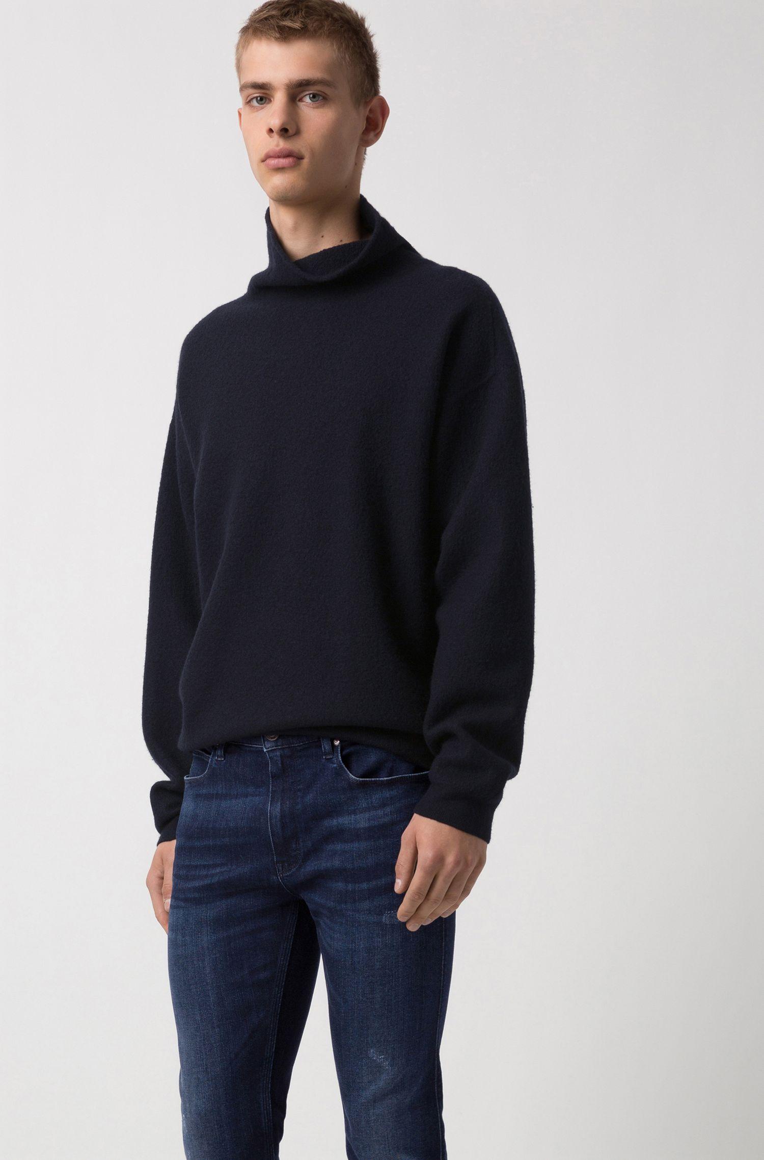 Skinny-fit jeans in blue stretch denim, Dark Blue