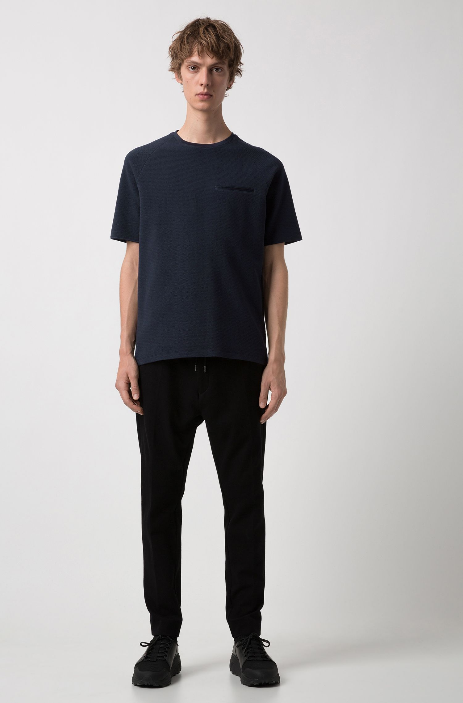 Relaxed-fit T-shirt in structured stretch cotton, Dark Blue