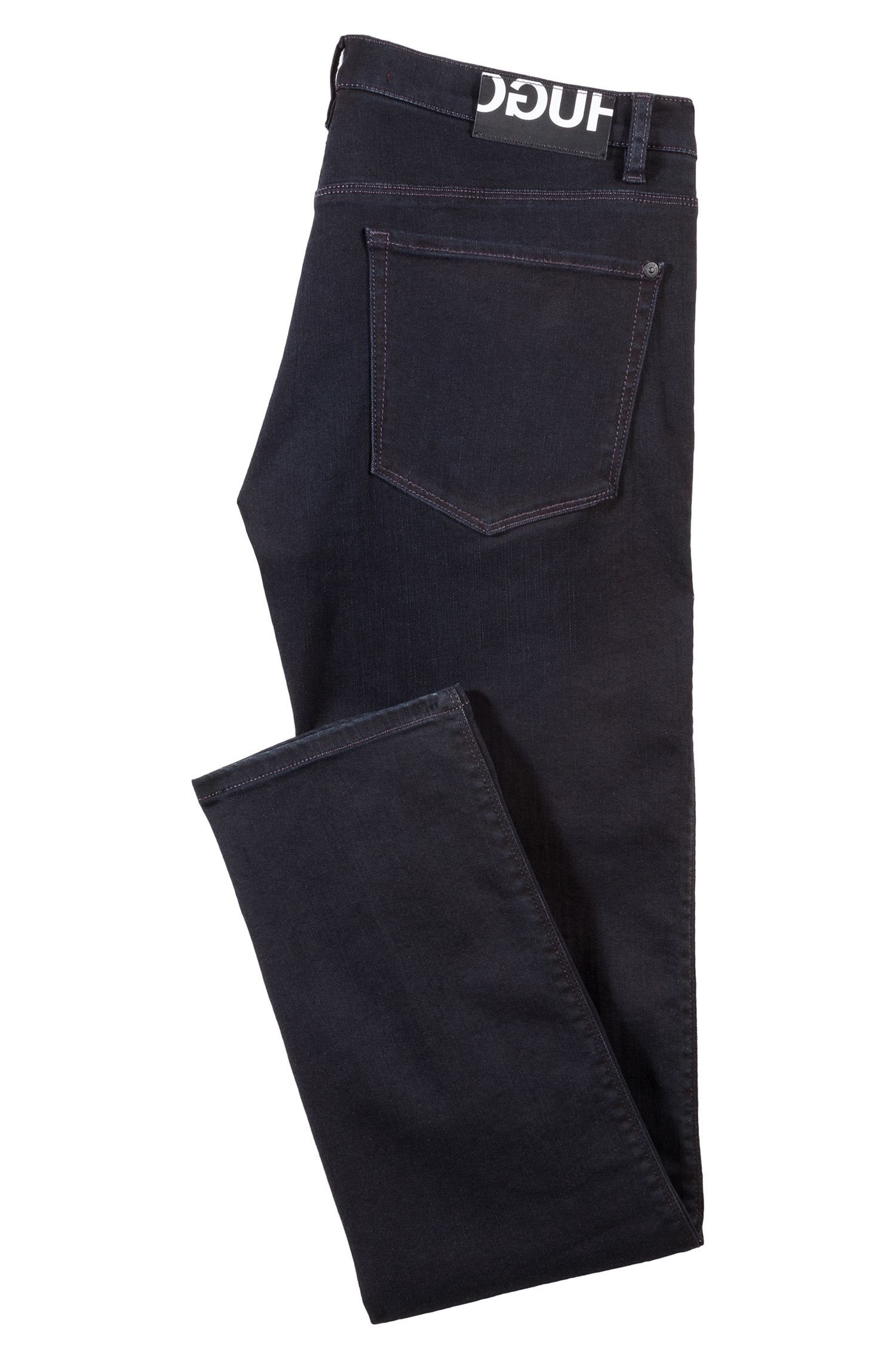 Slim-fit jeans in black stretch denim, Black