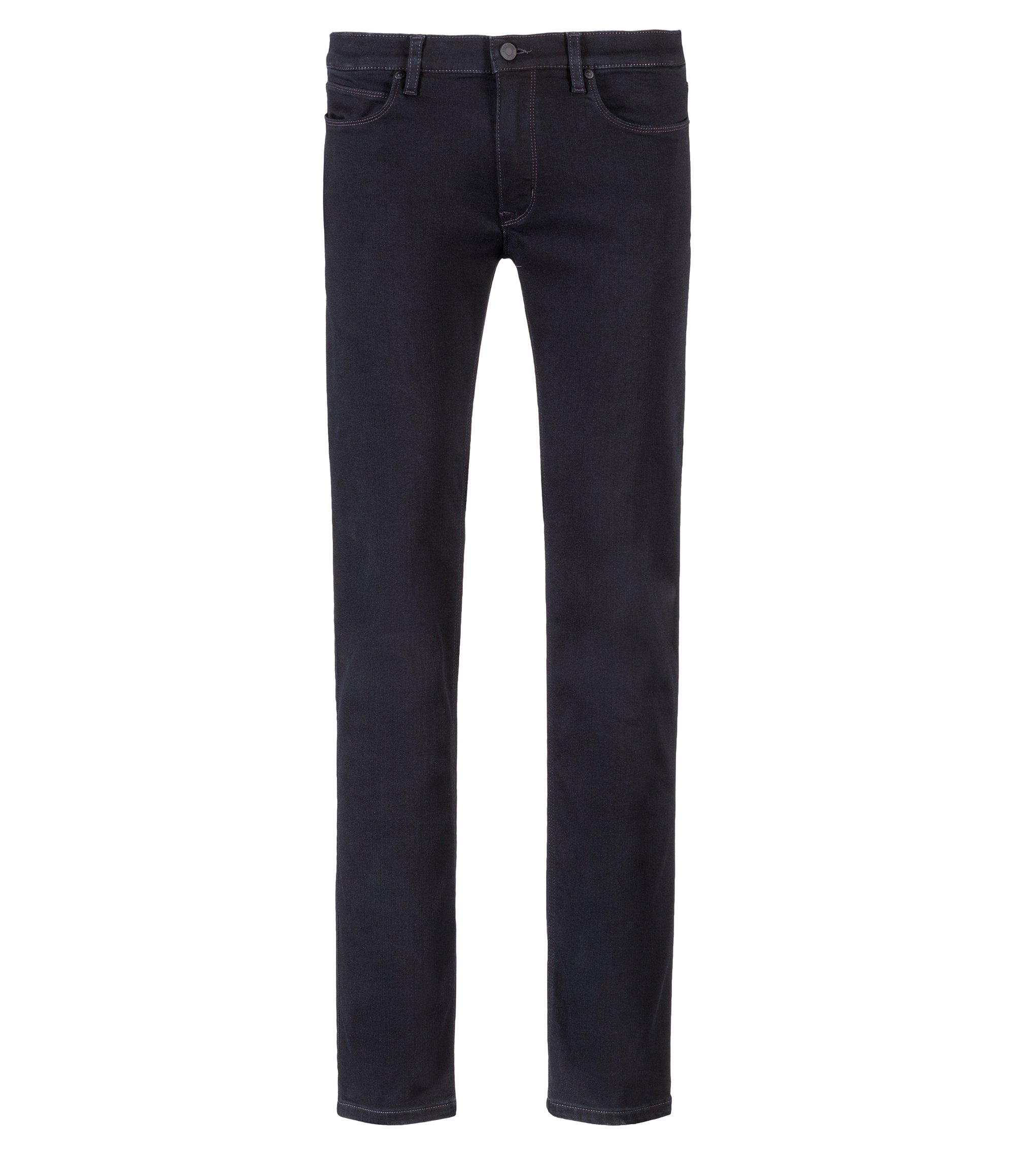 Slim-fit jeans in black stretch denim, Black
