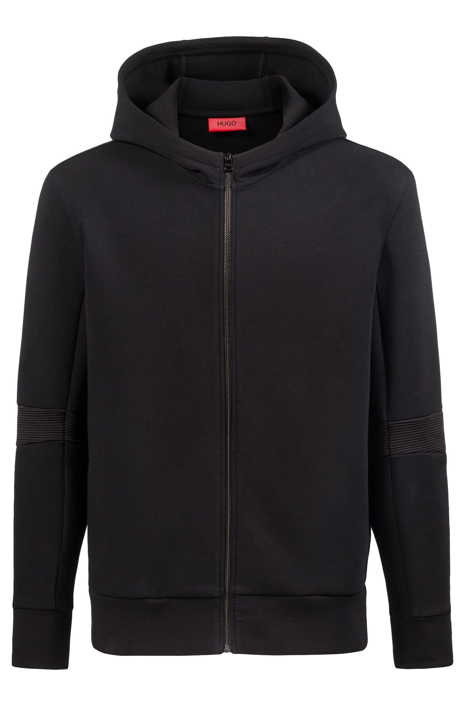 Oversized-fit zippered hoodie with ribbed elbows, Black